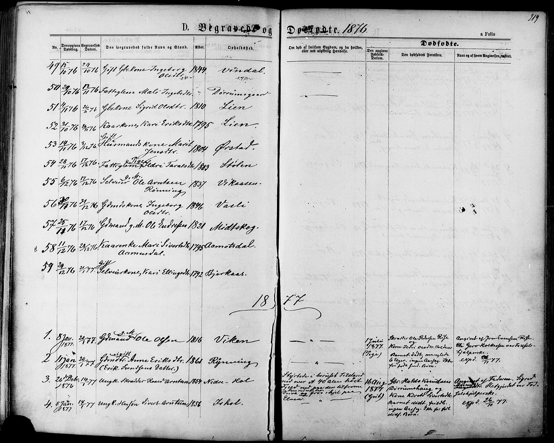 SAT, Ministerialprotokoller, klokkerbøker og fødselsregistre - Sør-Trøndelag, 678/L0900: Ministerialbok nr. 678A09, 1872-1881, s. 219