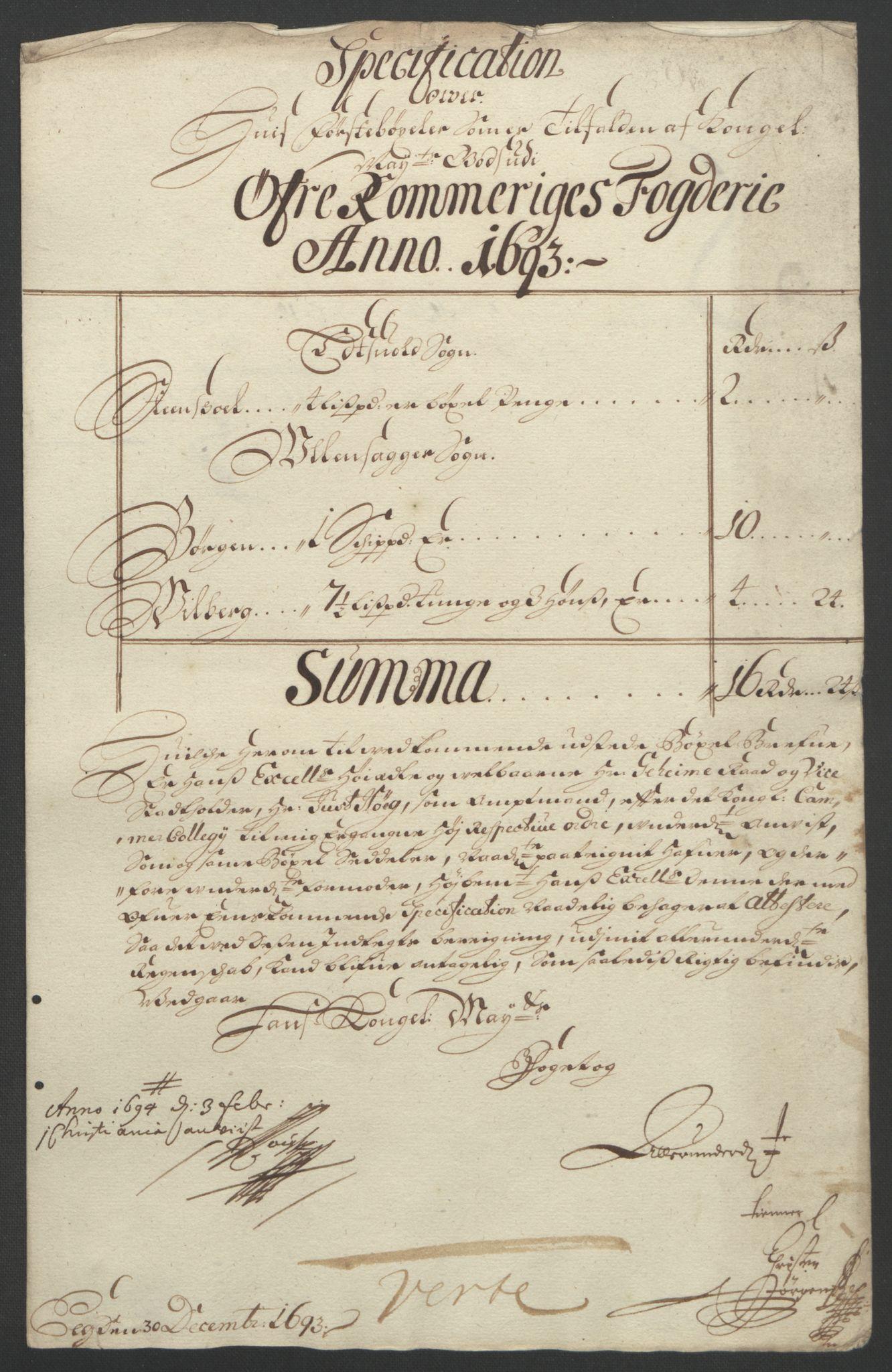 RA, Rentekammeret inntil 1814, Reviderte regnskaper, Fogderegnskap, R12/L0705: Fogderegnskap Øvre Romerike, 1693, s. 22