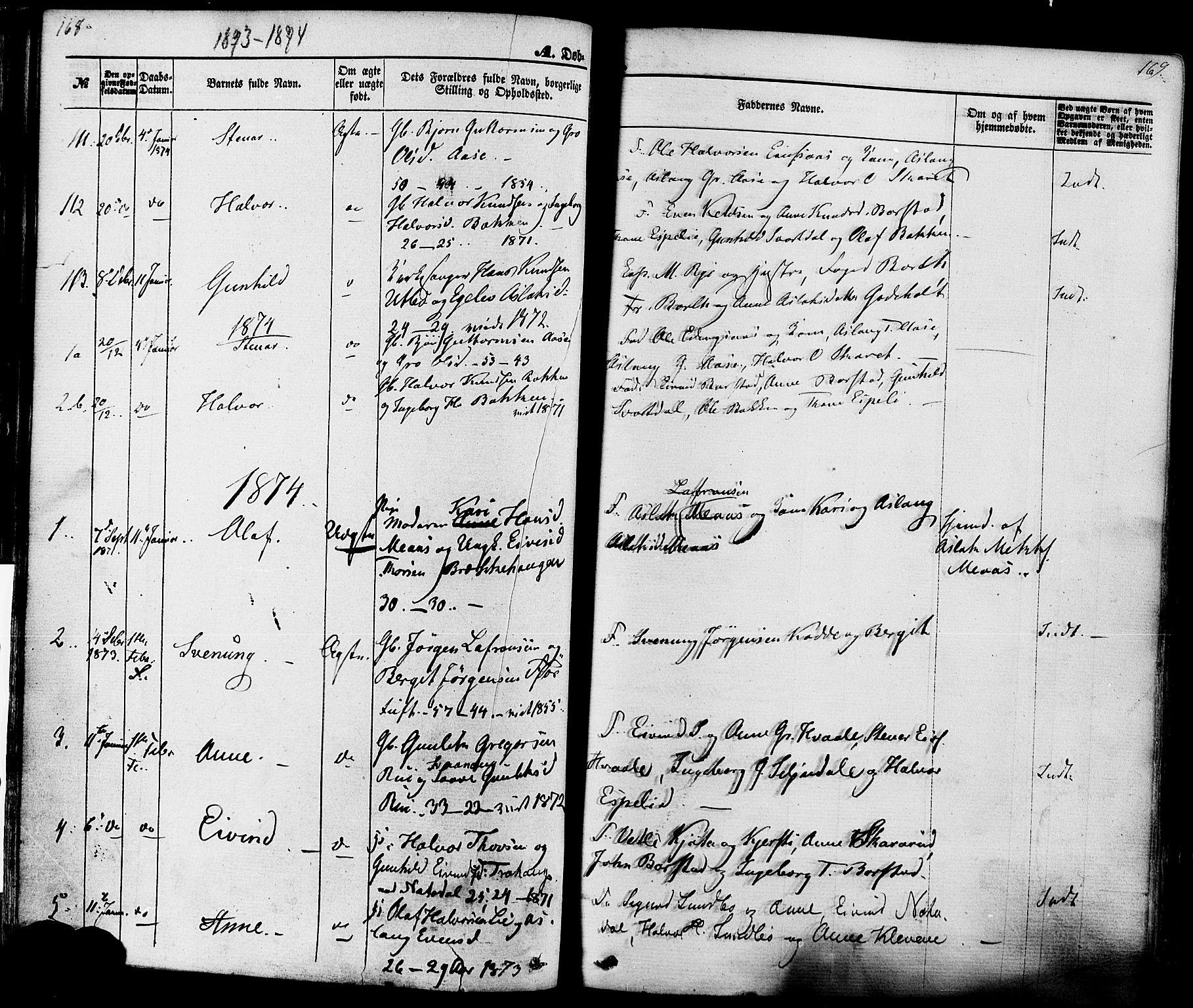 SAKO, Seljord kirkebøker, F/Fa/L0013: Ministerialbok nr. I 13, 1866-1876, s. 168-169