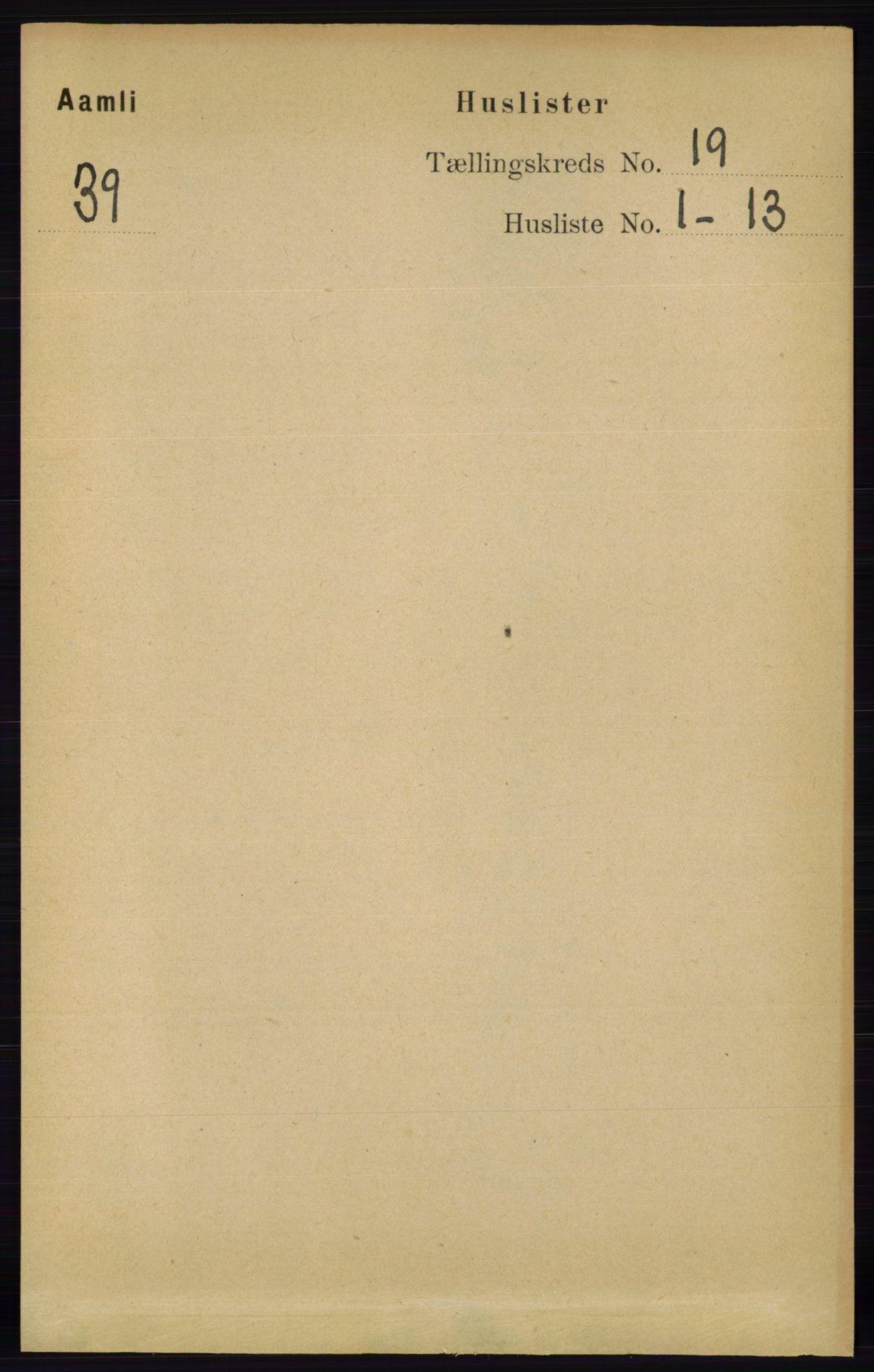 RA, Folketelling 1891 for 0929 Åmli herred, 1891, s. 3126