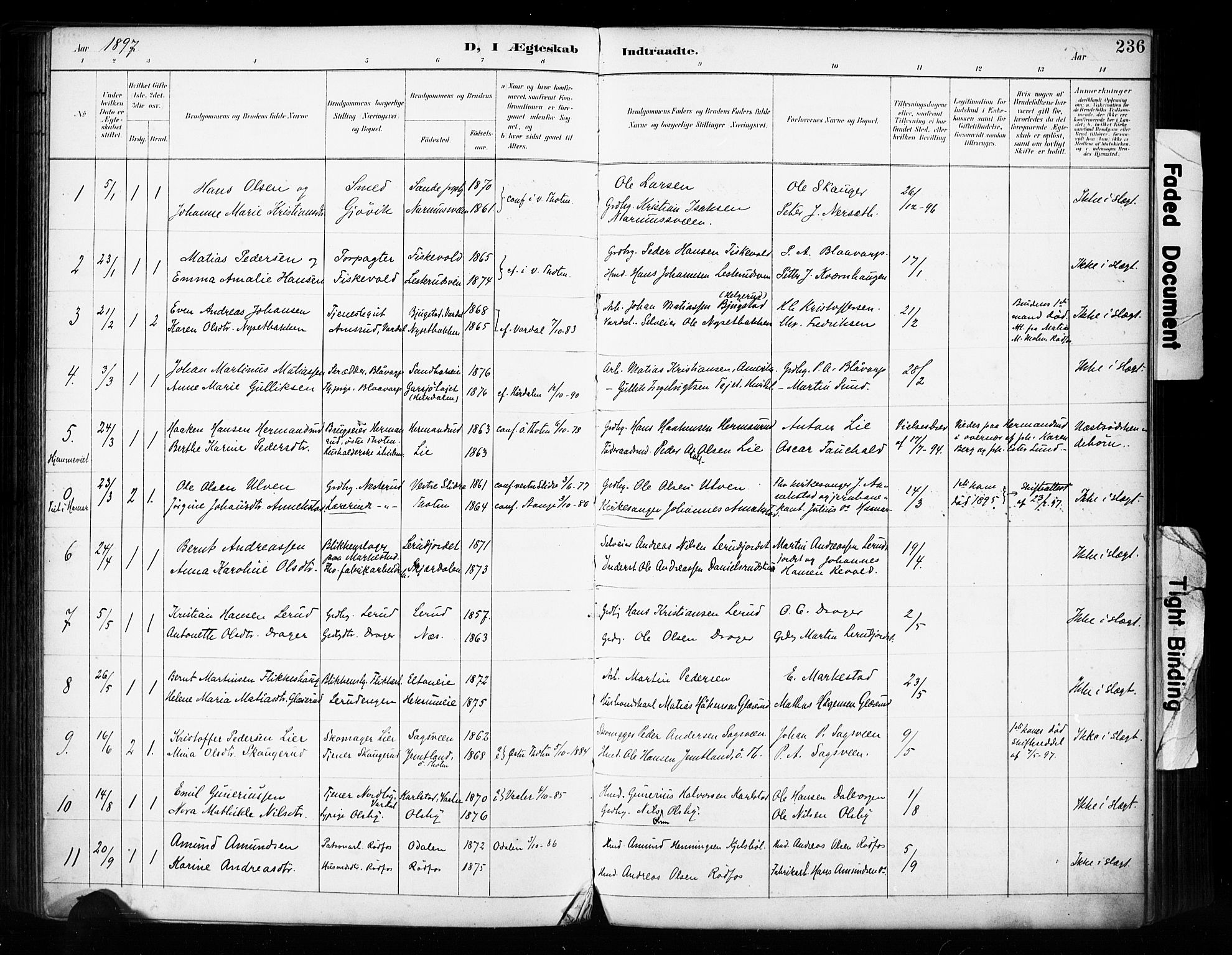 SAH, Vestre Toten prestekontor, Ministerialbok nr. 11, 1895-1906, s. 236