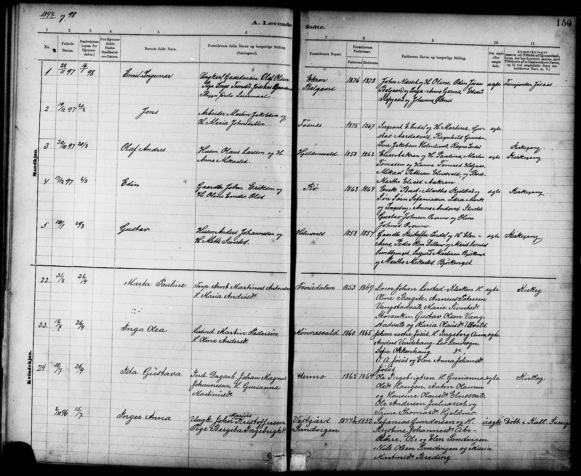 SAT, Ministerialprotokoller, klokkerbøker og fødselsregistre - Nord-Trøndelag, 724/L0267: Klokkerbok nr. 724C03, 1879-1898, s. 150