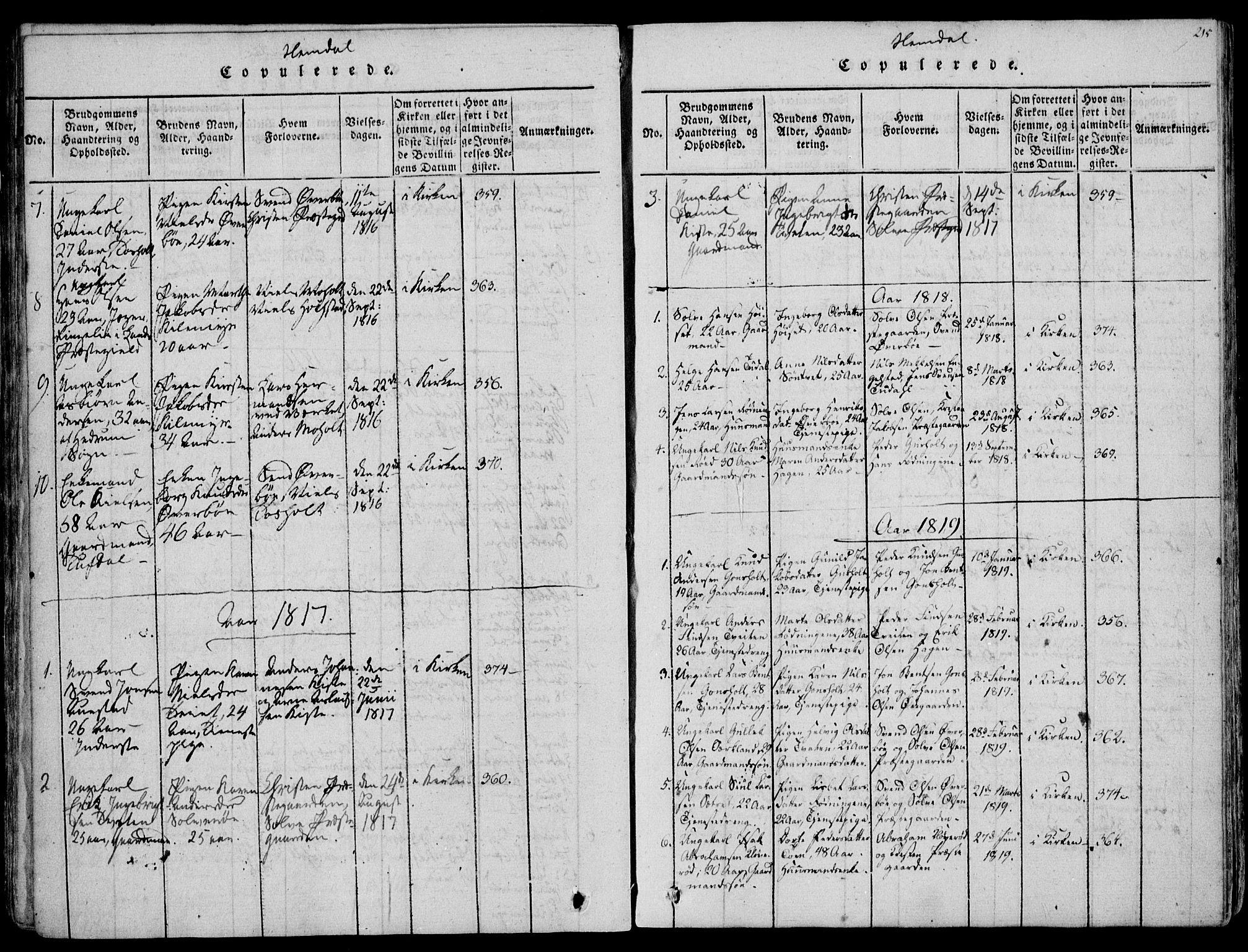 SAKO, Eidanger kirkebøker, F/Fa/L0007: Ministerialbok nr. 7, 1814-1831, s. 215