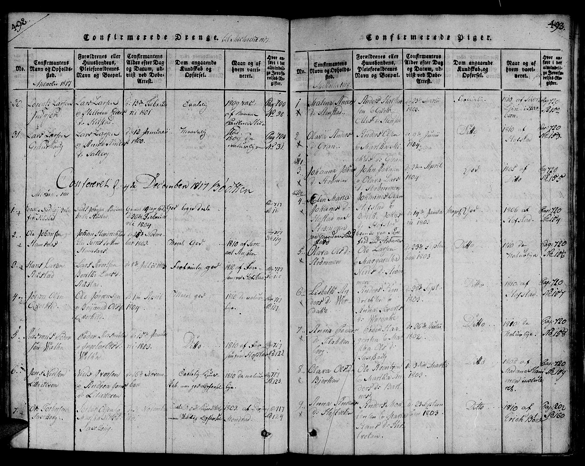 SAT, Ministerialprotokoller, klokkerbøker og fødselsregistre - Nord-Trøndelag, 730/L0275: Ministerialbok nr. 730A04, 1816-1822, s. 492-493