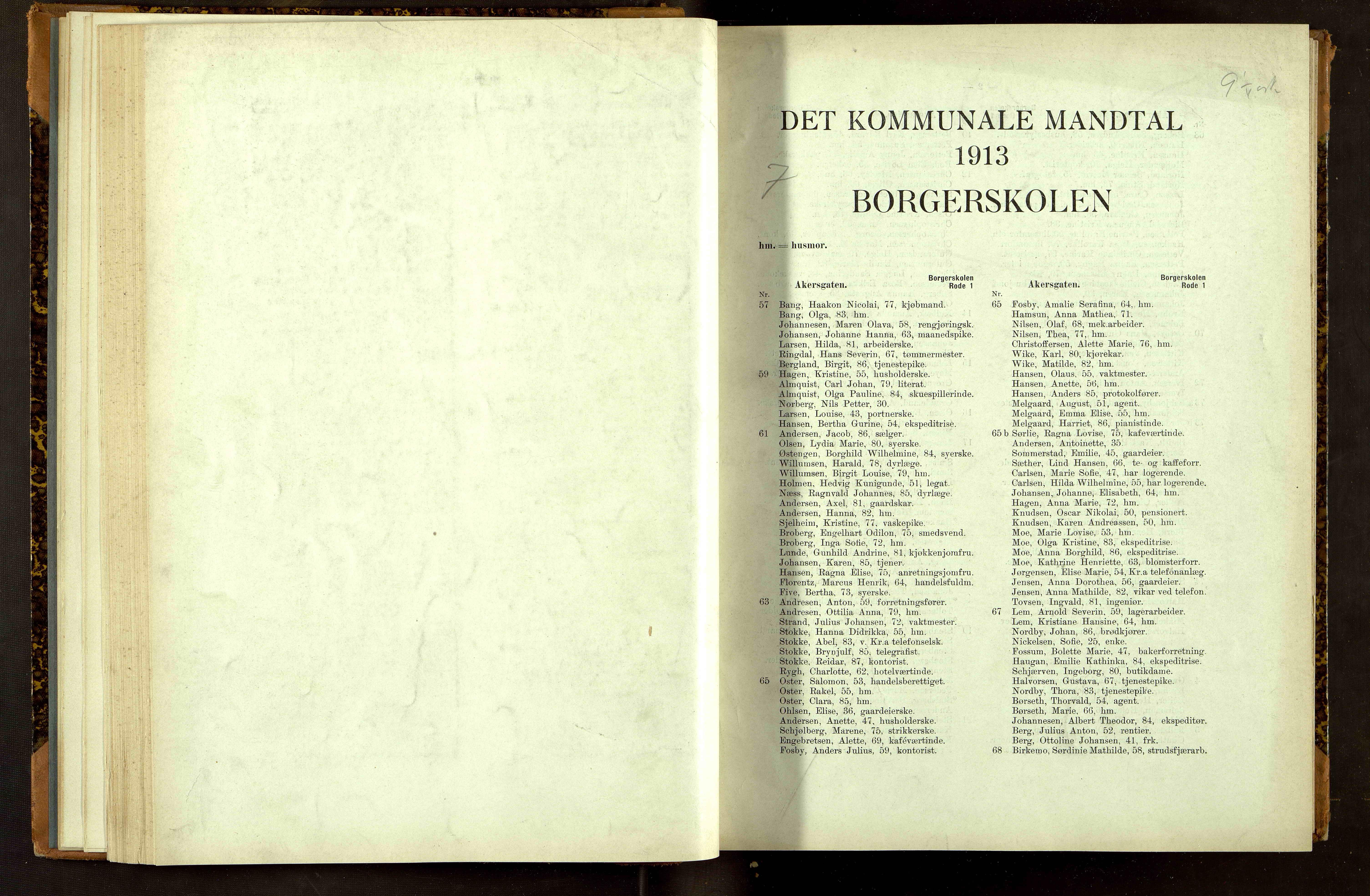 OBA, Folkeregisteret ( Valgstyret ), 1913, s. 1001