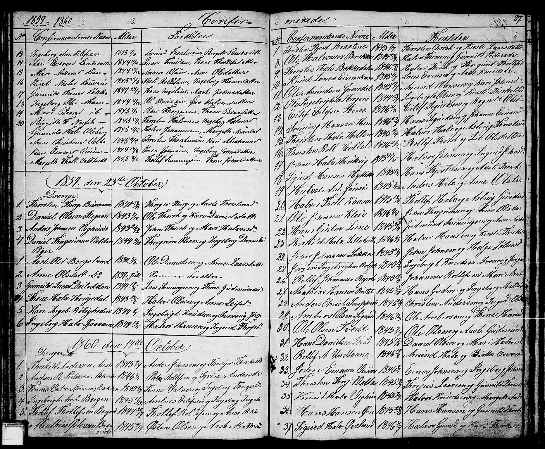 SAKO, Sauherad kirkebøker, G/Ga/L0002: Klokkerbok nr. I 2, 1842-1866, s. 87