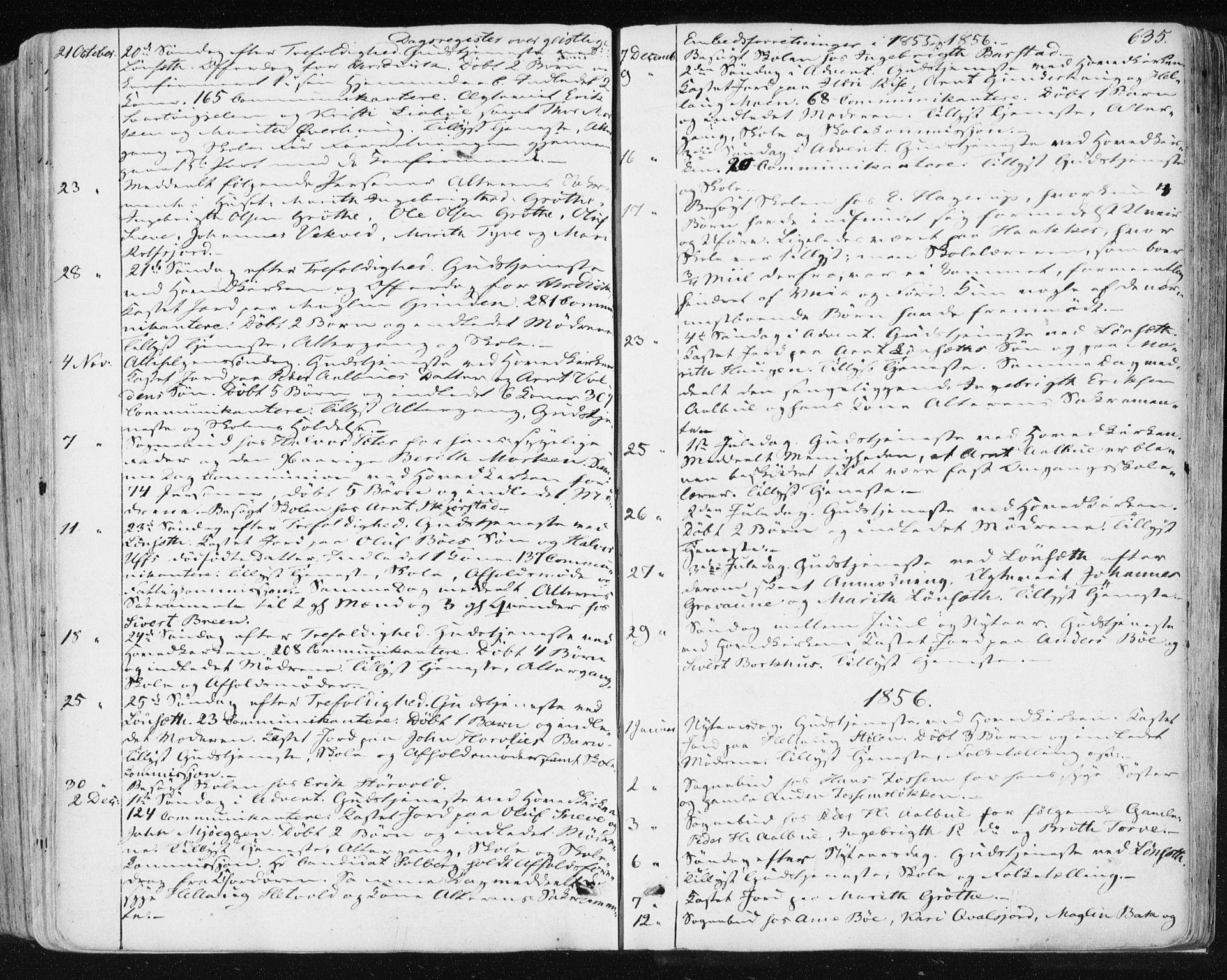 SAT, Ministerialprotokoller, klokkerbøker og fødselsregistre - Sør-Trøndelag, 678/L0899: Ministerialbok nr. 678A08, 1848-1872, s. 635