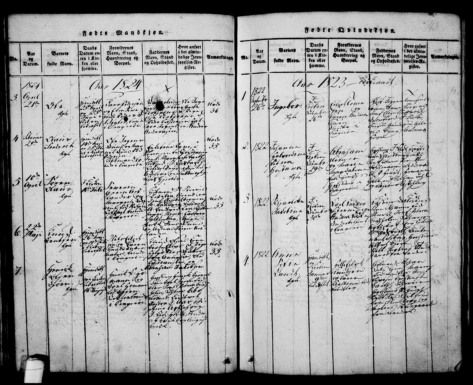SAKO, Kragerø kirkebøker, G/Ga/L0002: Klokkerbok nr. 2, 1814-1831, s. 43