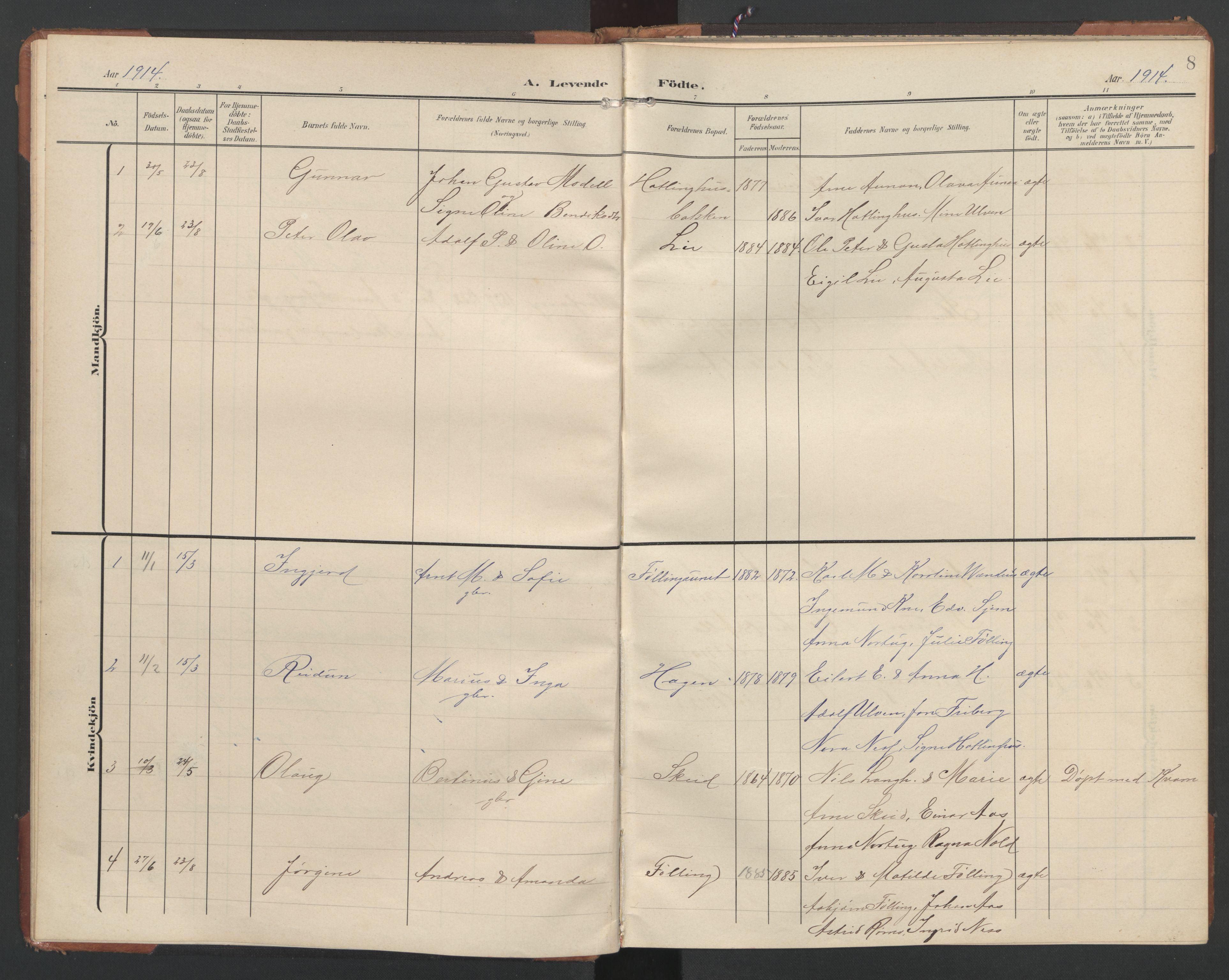 SAT, Ministerialprotokoller, klokkerbøker og fødselsregistre - Nord-Trøndelag, 748/L0465: Klokkerbok nr. 748C01, 1908-1960, s. 8