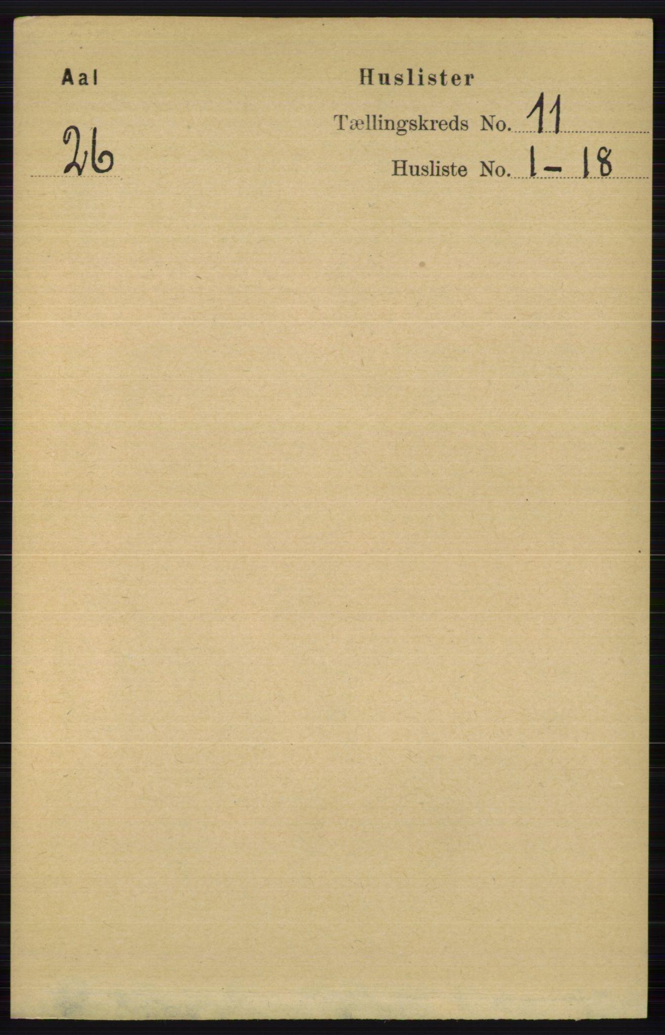 RA, Folketelling 1891 for 0619 Ål herred, 1891, s. 2848