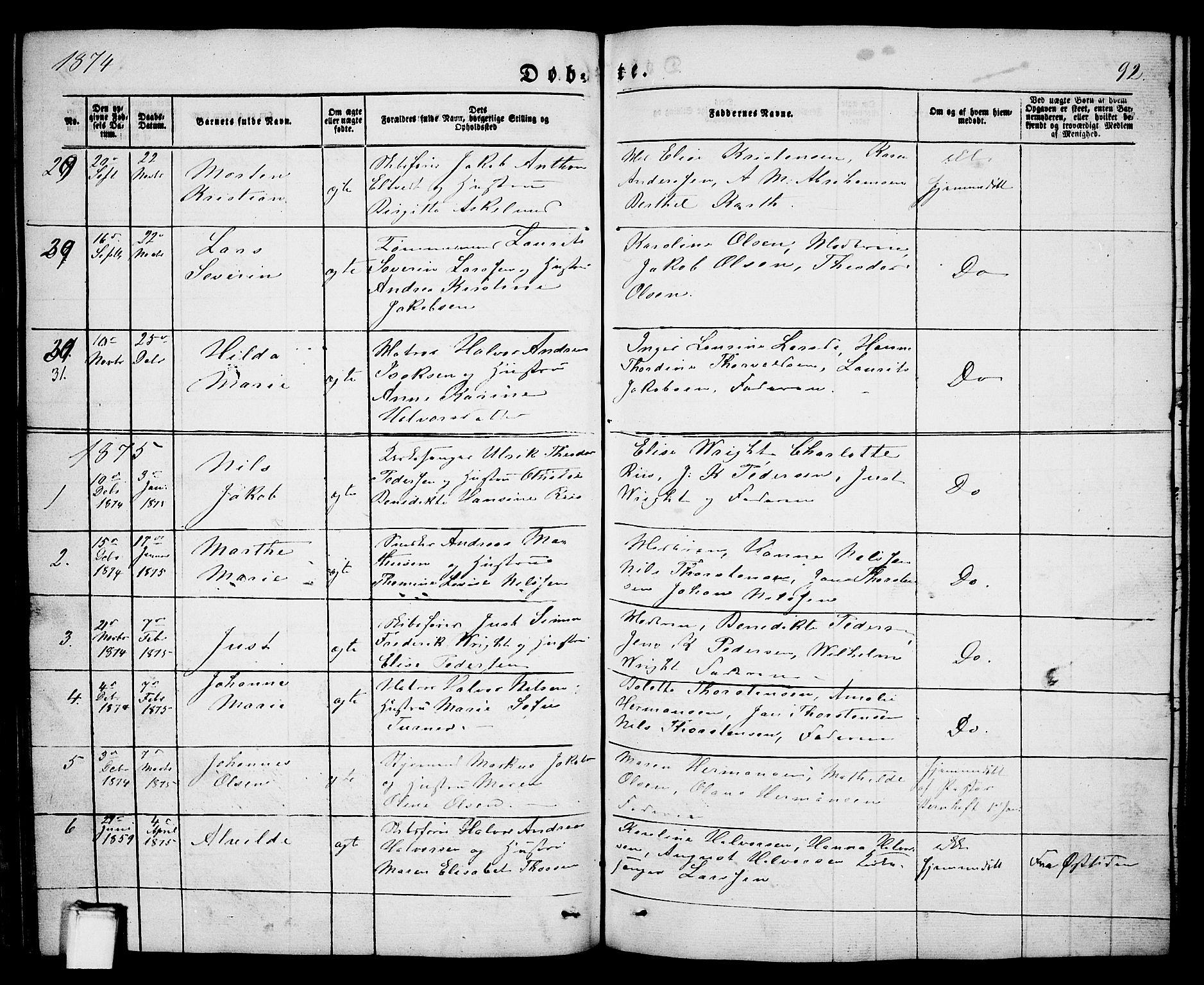 SAKO, Porsgrunn kirkebøker , G/Ga/L0002: Klokkerbok nr. I 2, 1847-1877, s. 92