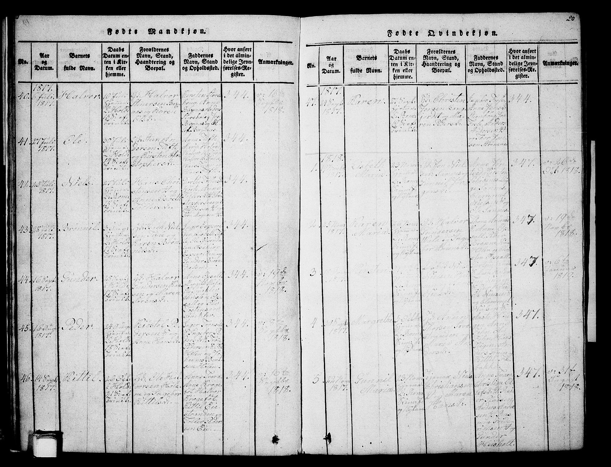 SAKO, Holla kirkebøker, G/Ga/L0001: Klokkerbok nr. I 1, 1814-1830, s. 20