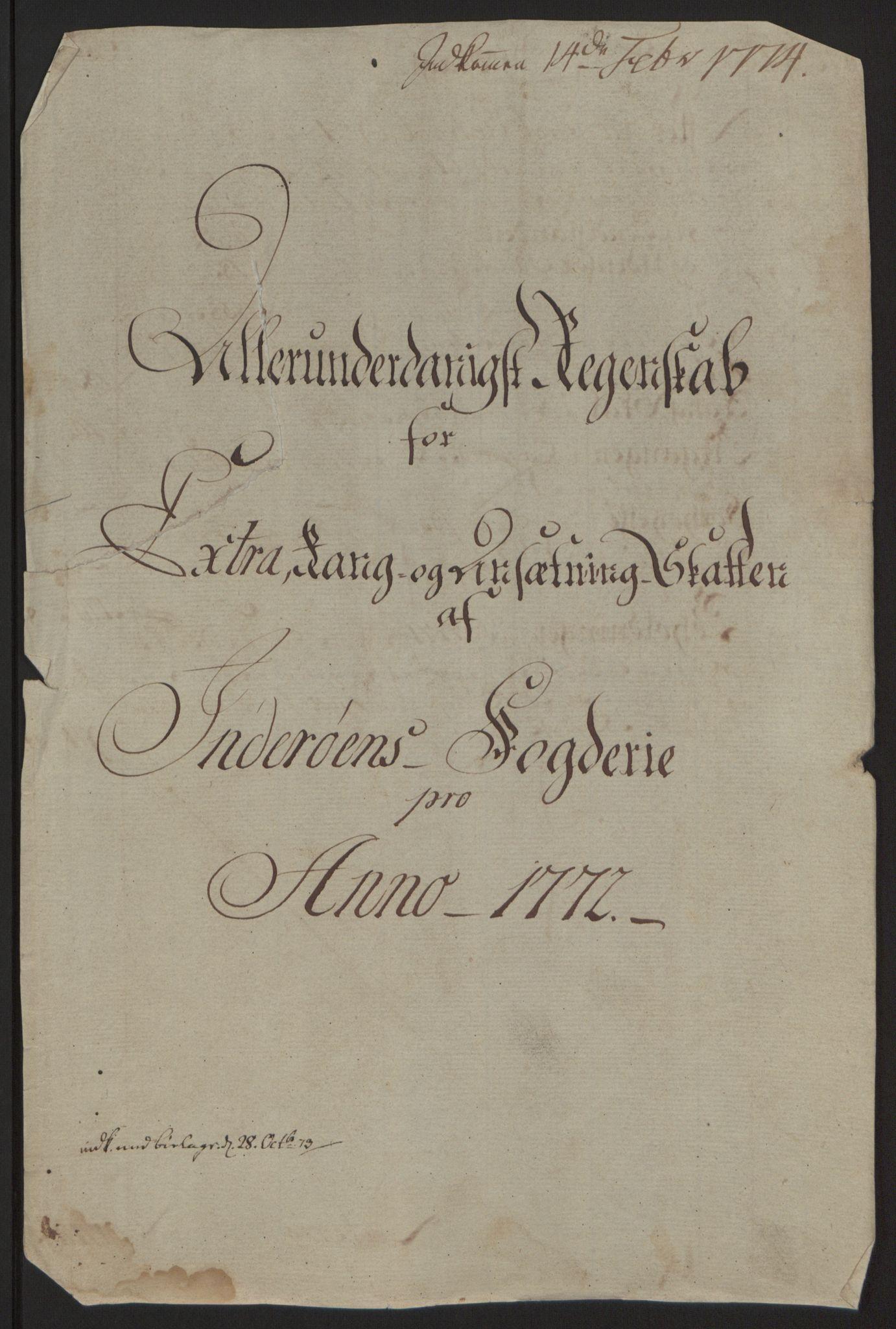 RA, Rentekammeret inntil 1814, Reviderte regnskaper, Fogderegnskap, R63/L4420: Ekstraskatten Inderøy, 1762-1772, s. 481