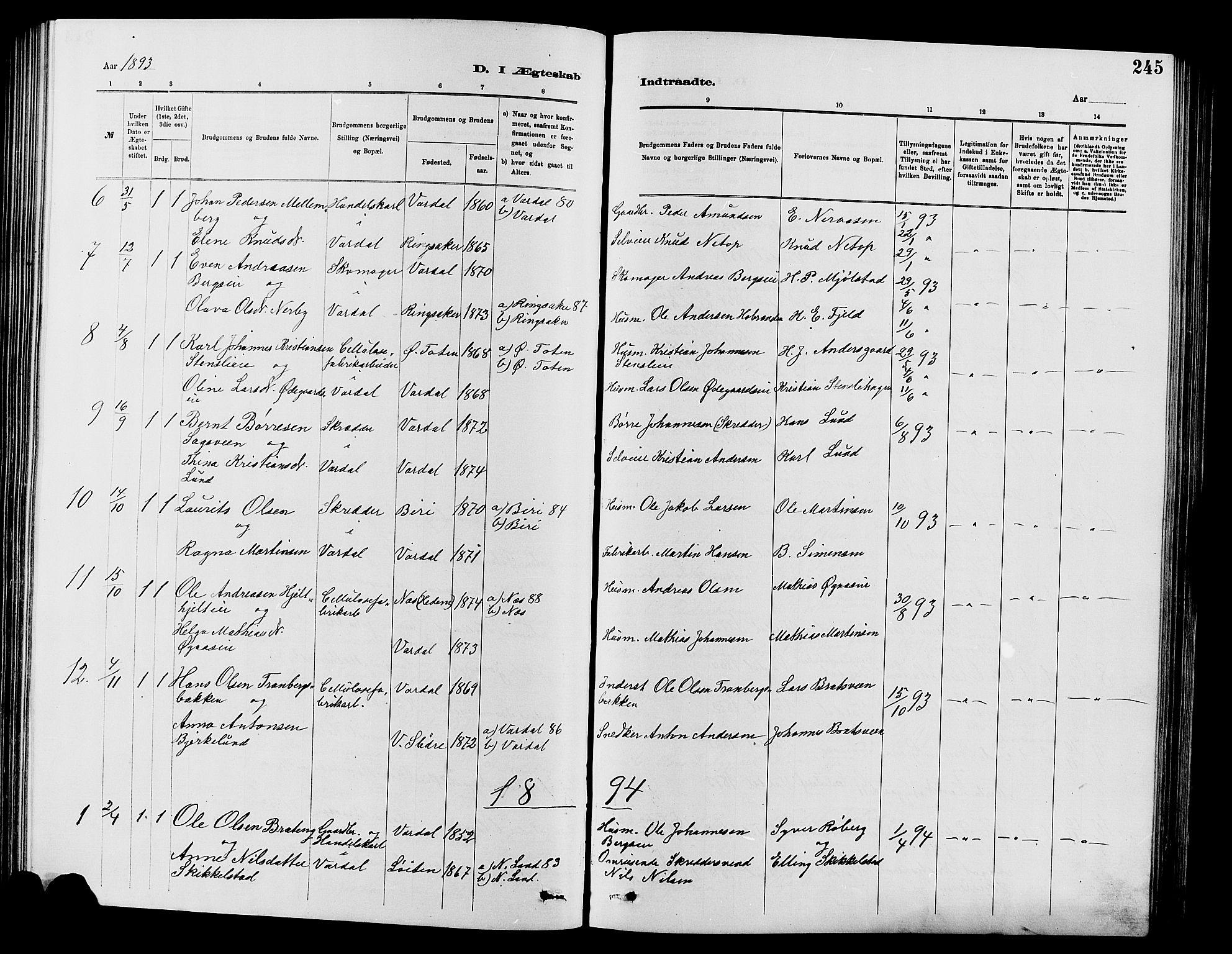 SAH, Vardal prestekontor, H/Ha/Hab/L0007: Klokkerbok nr. 7 /1, 1881-1895, s. 245