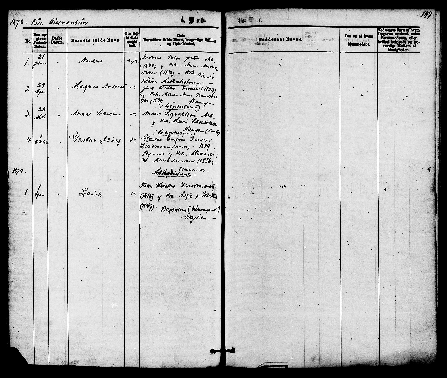 SAKO, Skåtøy kirkebøker, F/Fa/L0001: Ministerialbok nr. I 1, 1874-1883, s. 147