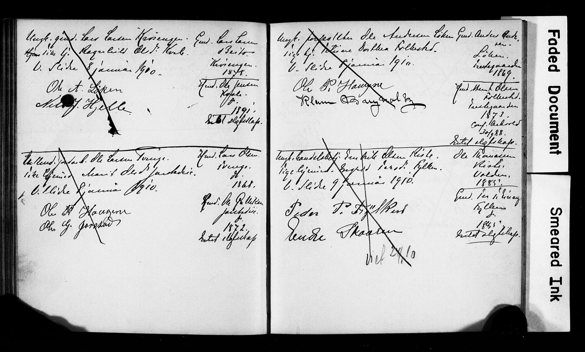 SAH, Vestre Slidre prestekontor, Lysningsprotokoll nr. 1, 1881-1919