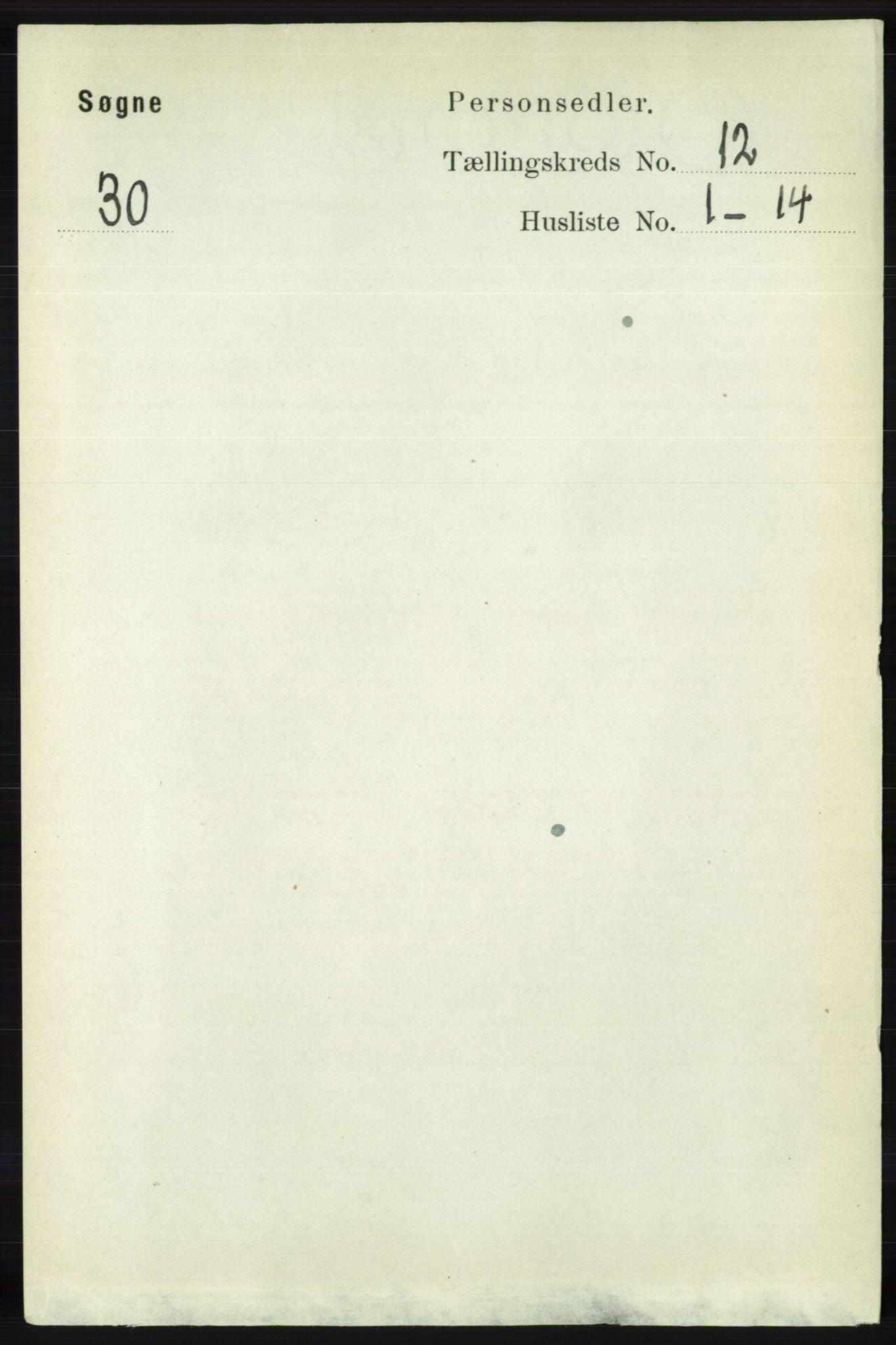 RA, Folketelling 1891 for 1018 Søgne herred, 1891, s. 3120