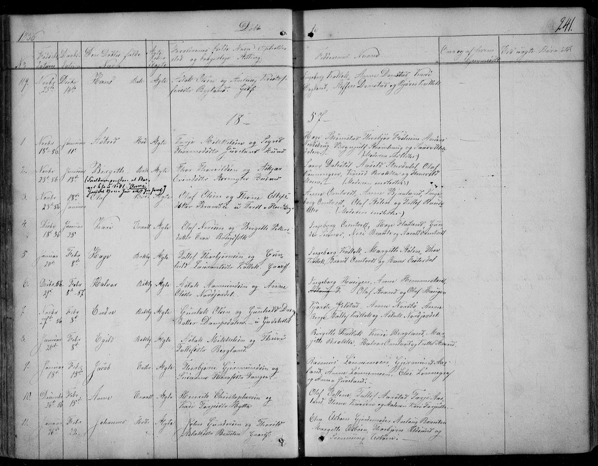 SAKO, Kviteseid kirkebøker, F/Fa/L0006: Ministerialbok nr. I 6, 1836-1858, s. 241