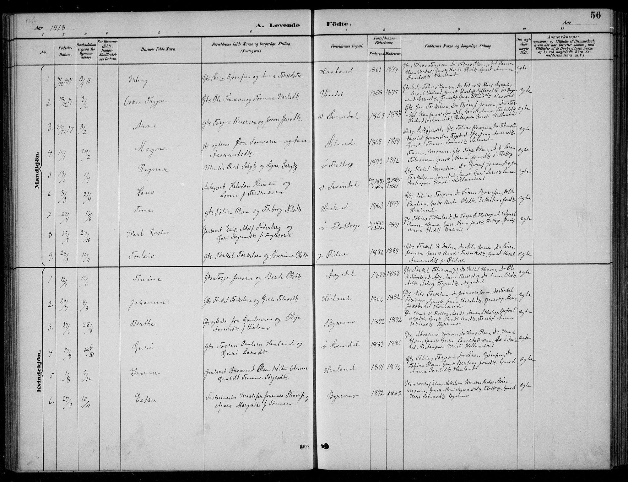 SAK, Bjelland sokneprestkontor, F/Fb/Fbc/L0003: Klokkerbok nr. B 3, 1887-1924, s. 56