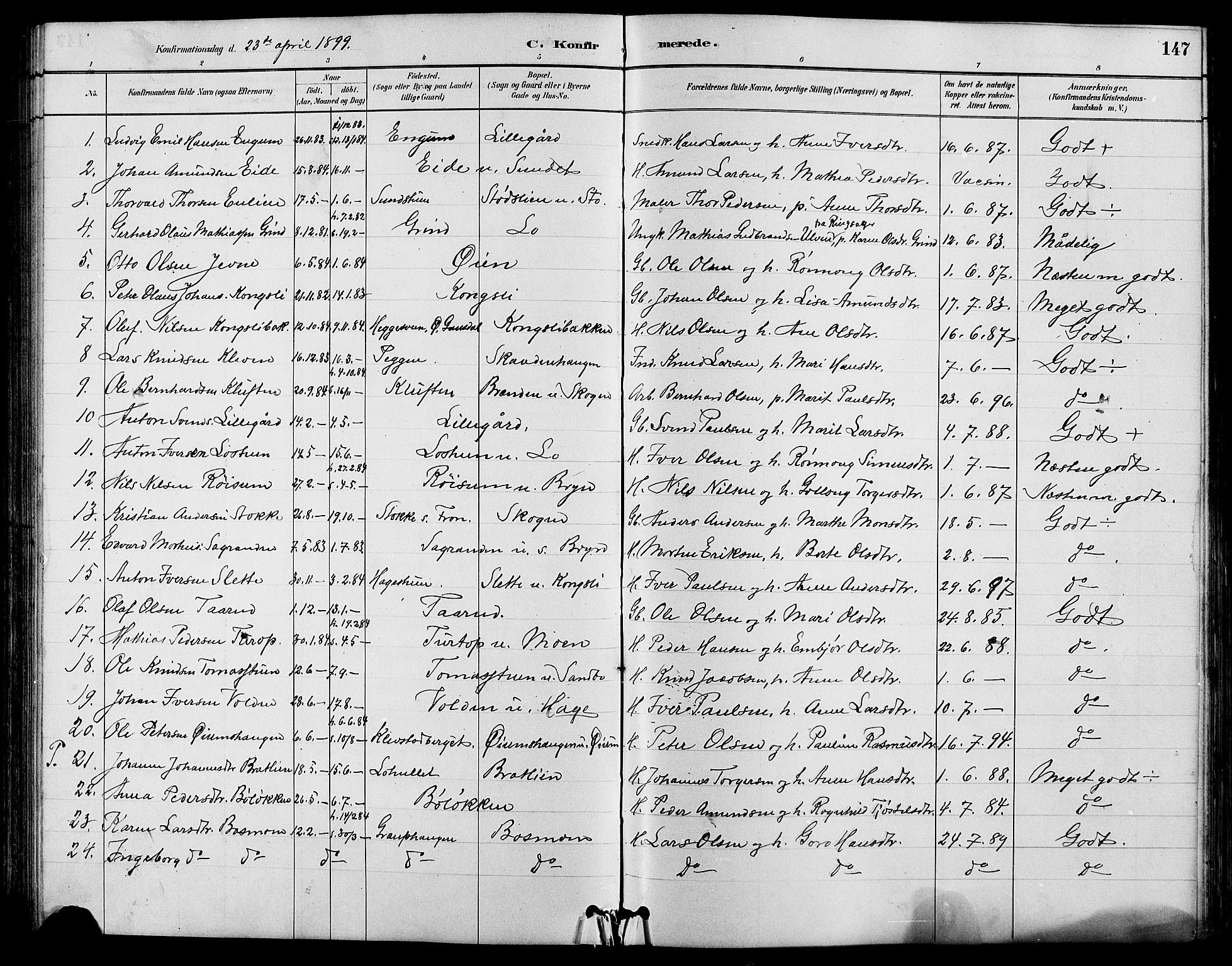 SAH, Nord-Fron prestekontor, Klokkerbok nr. 4, 1884-1914, s. 147