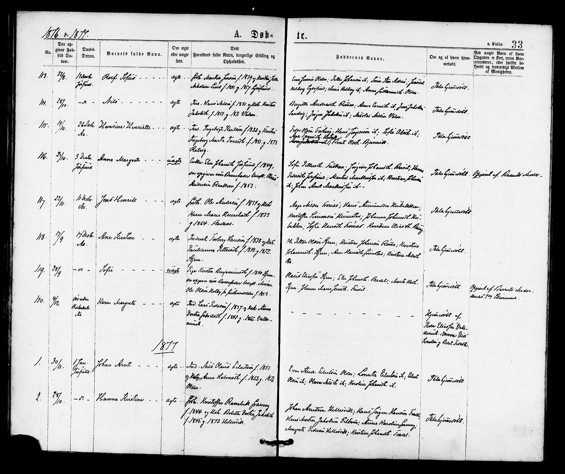 SAT, Ministerialprotokoller, klokkerbøker og fødselsregistre - Sør-Trøndelag, 655/L0679: Ministerialbok nr. 655A08, 1873-1879, s. 33