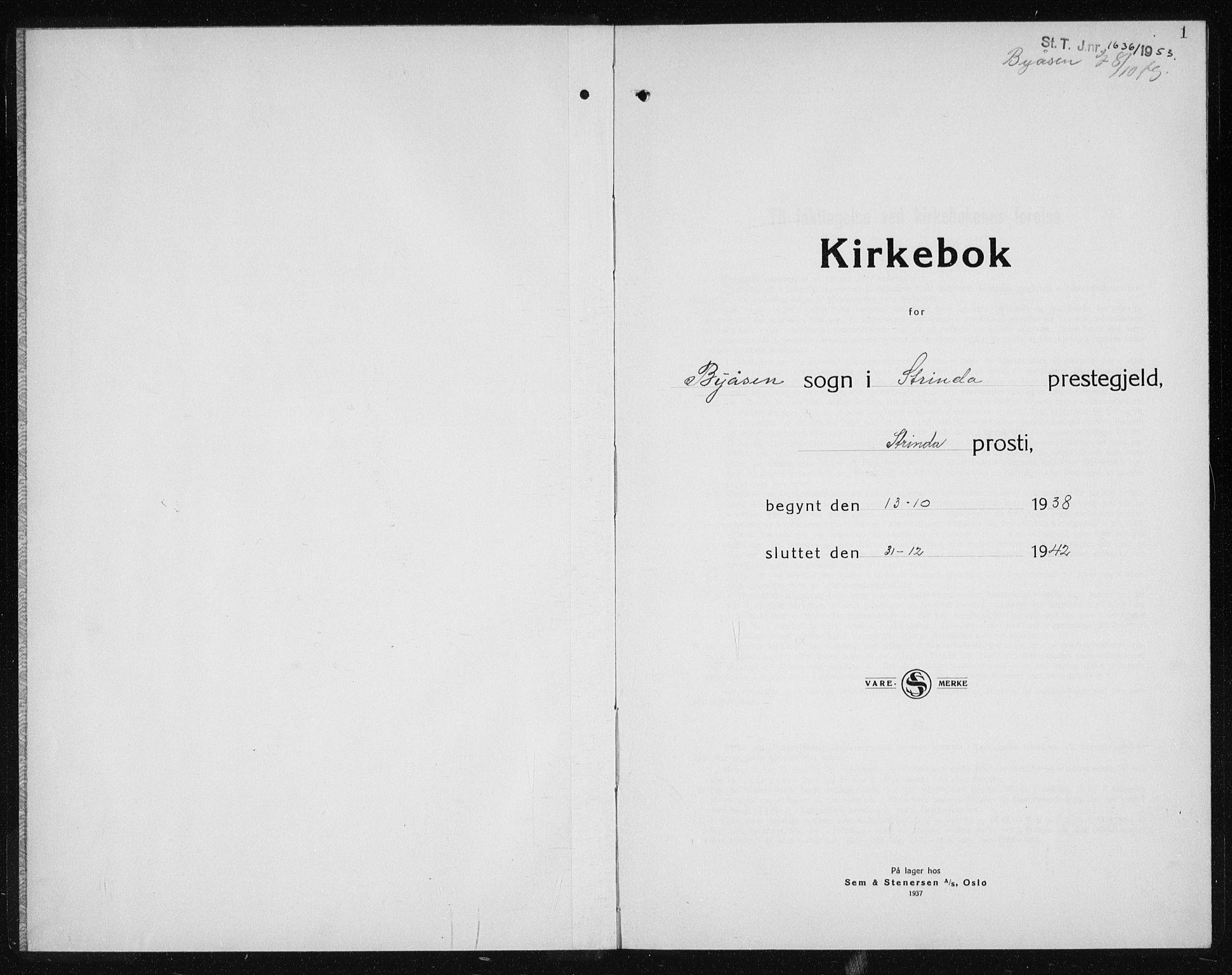 SAT, Ministerialprotokoller, klokkerbøker og fødselsregistre - Sør-Trøndelag, 611/L0357: Klokkerbok nr. 611C05, 1938-1942, s. 1