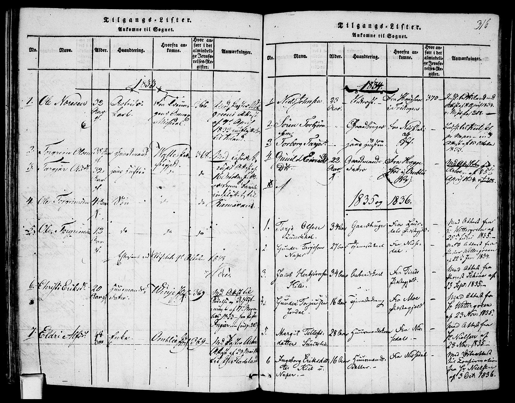 SAKO, Fyresdal kirkebøker, F/Fa/L0003: Ministerialbok nr. I 3, 1815-1840, s. 316