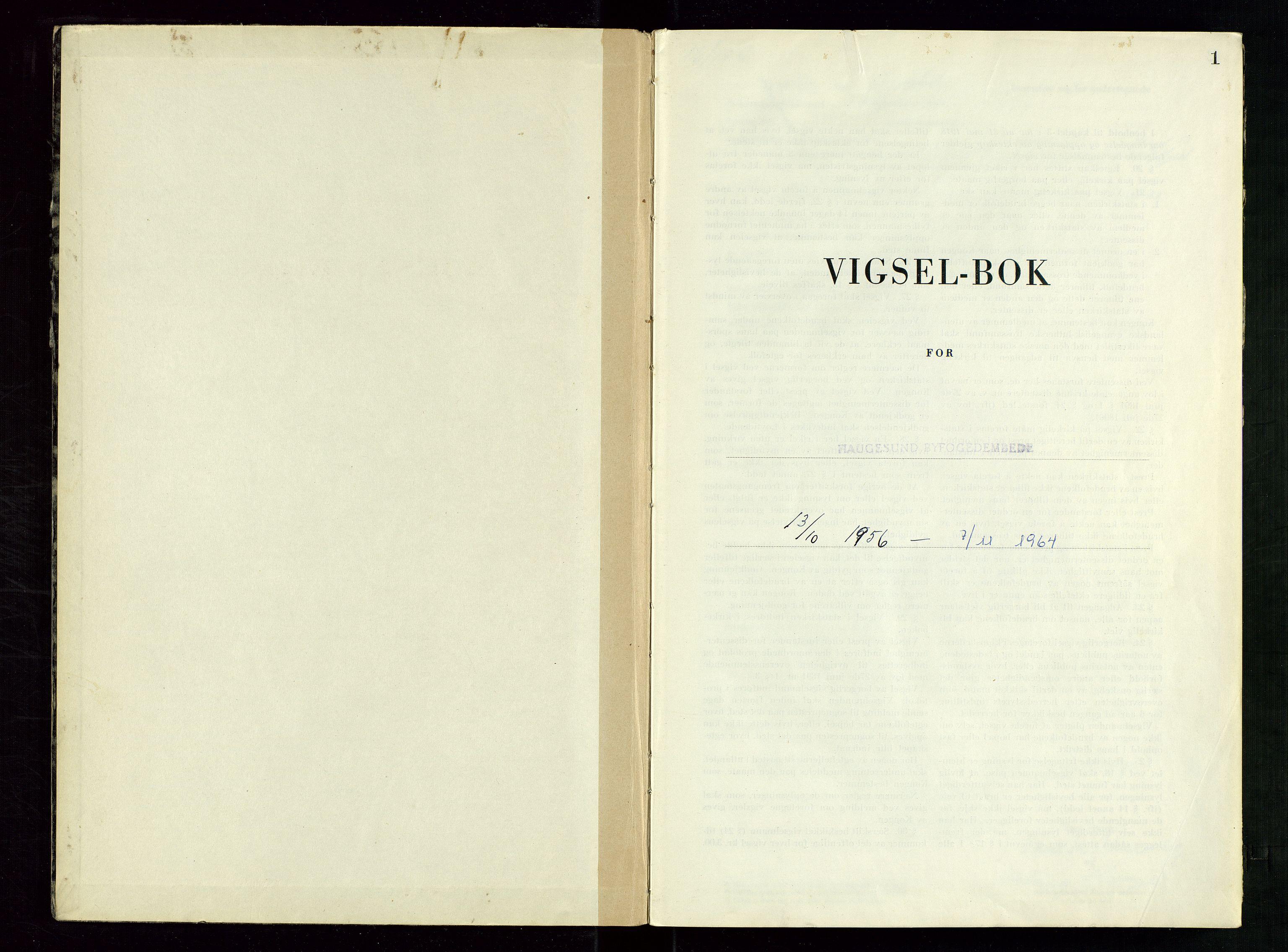 SAST, Haugesund tingrett, III/IIID/L0007: Vigselbok, 1956-1964, s. 1