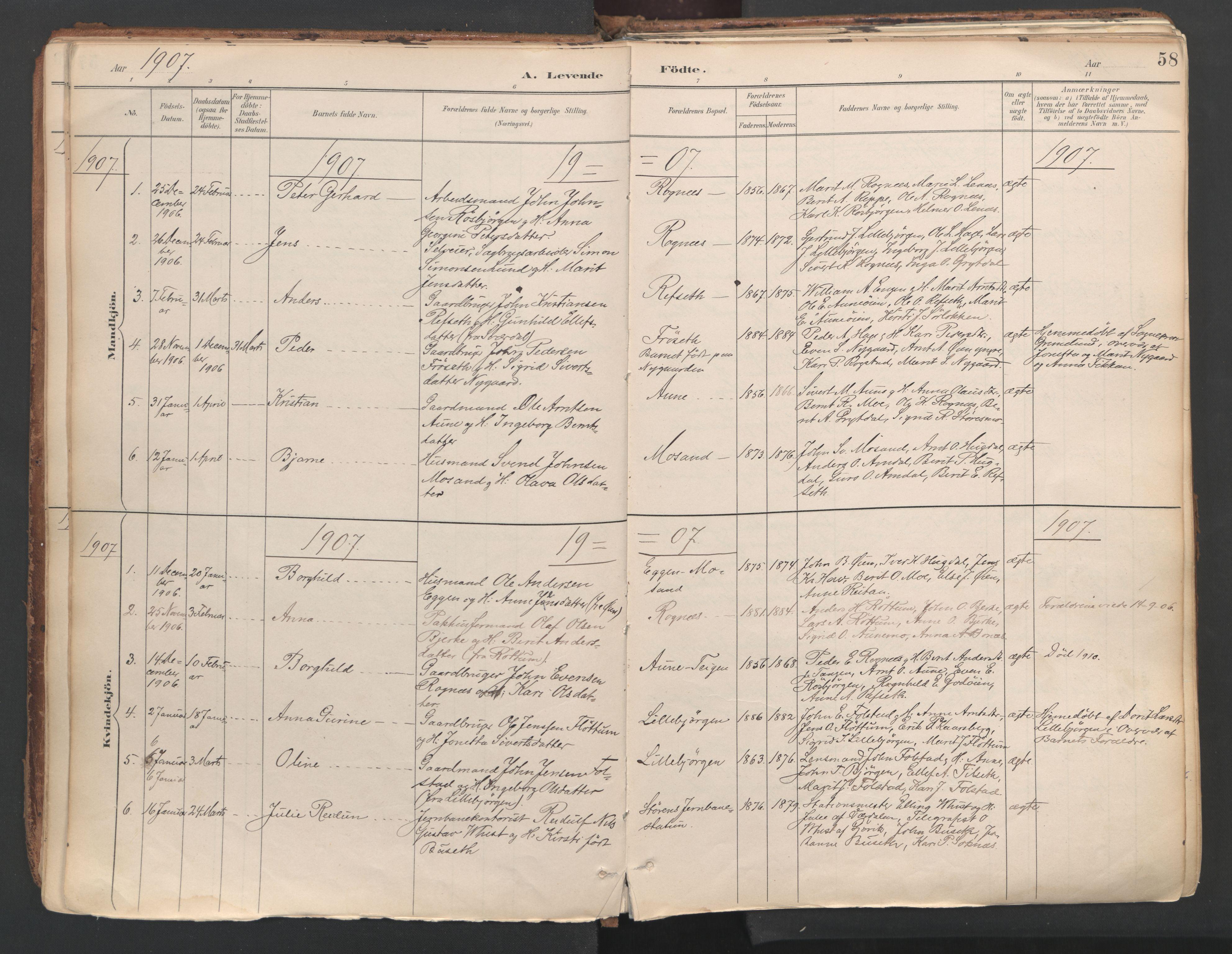 SAT, Ministerialprotokoller, klokkerbøker og fødselsregistre - Sør-Trøndelag, 687/L1004: Ministerialbok nr. 687A10, 1891-1923, s. 58