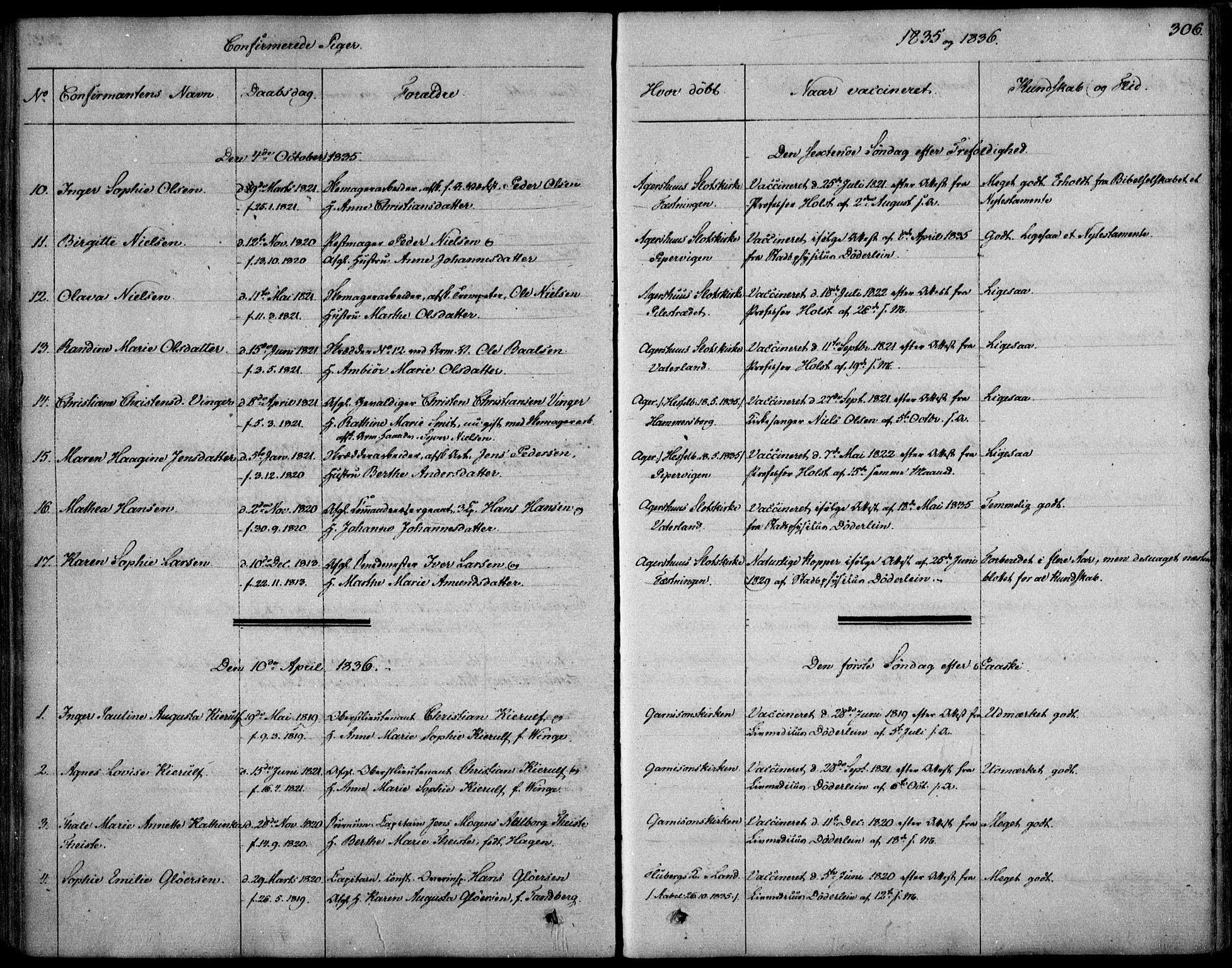 SAO, Garnisonsmenigheten Kirkebøker, F/Fa/L0006: Ministerialbok nr. 6, 1828-1841, s. 306