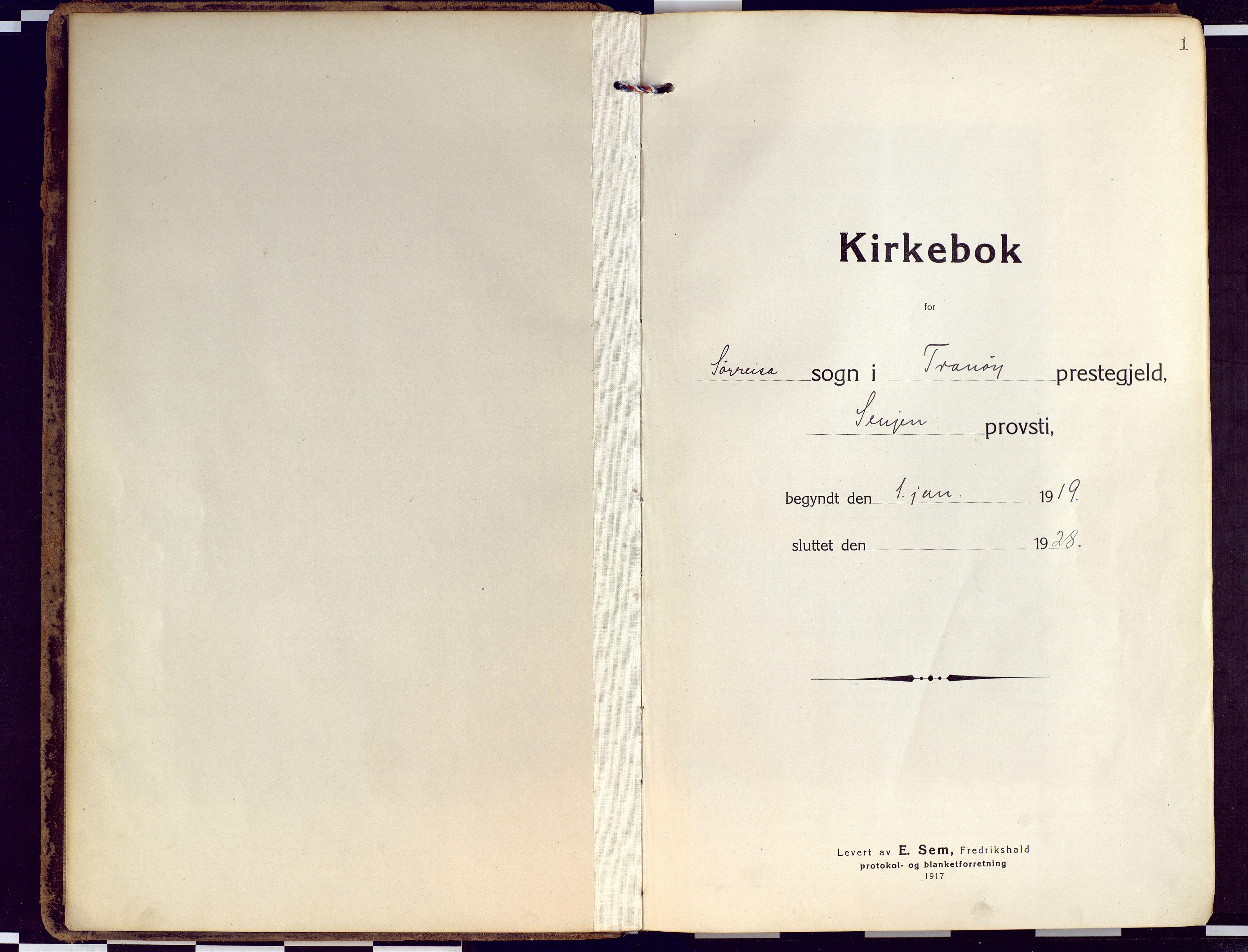 SATØ, Tranøy sokneprestkontor, I/Ia/Iaa/L0015kirke: Ministerialbok nr. 15, 1919-1928, s. 1