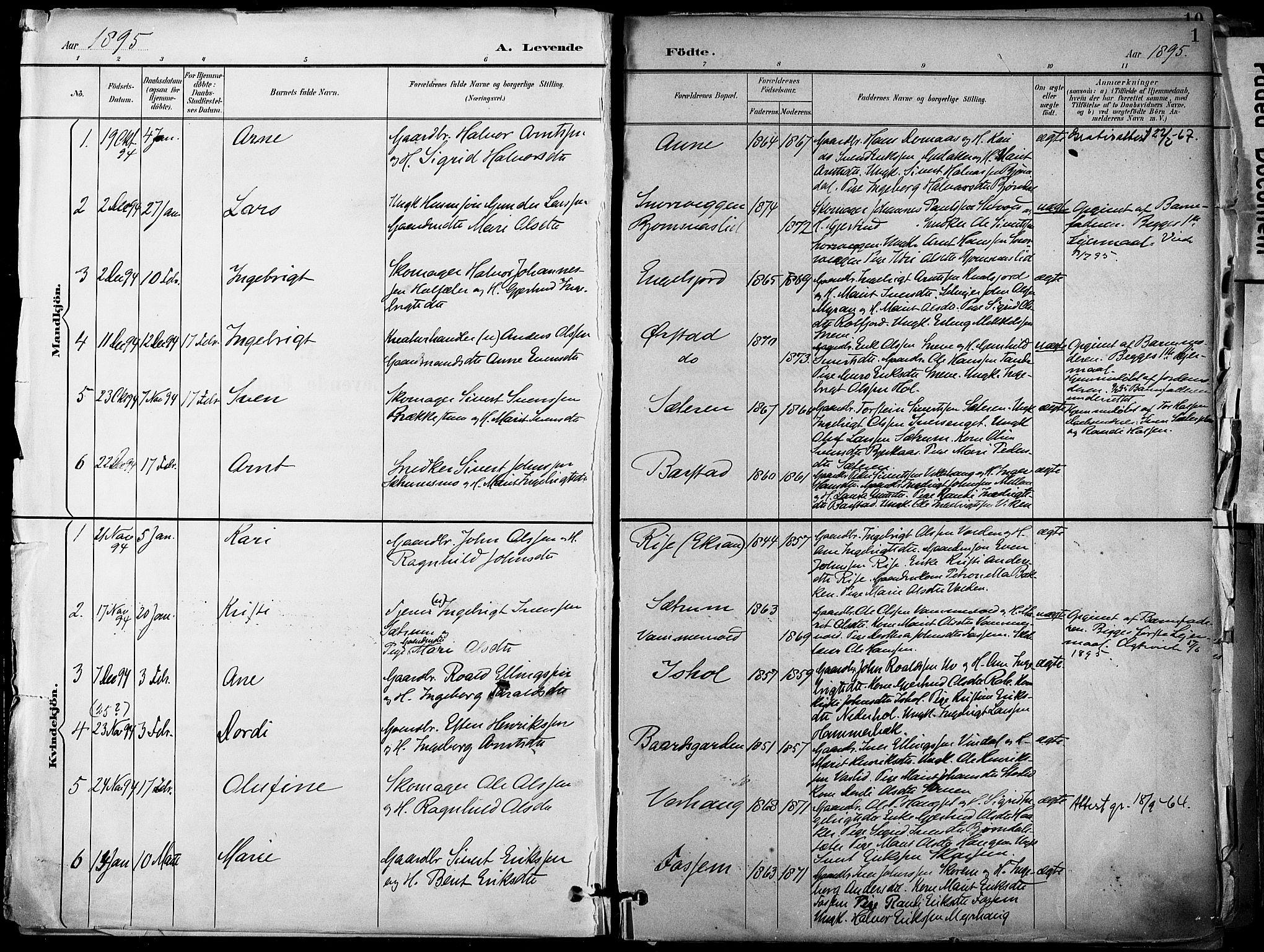 SAT, Ministerialprotokoller, klokkerbøker og fødselsregistre - Sør-Trøndelag, 678/L0902: Ministerialbok nr. 678A11, 1895-1911, s. 1