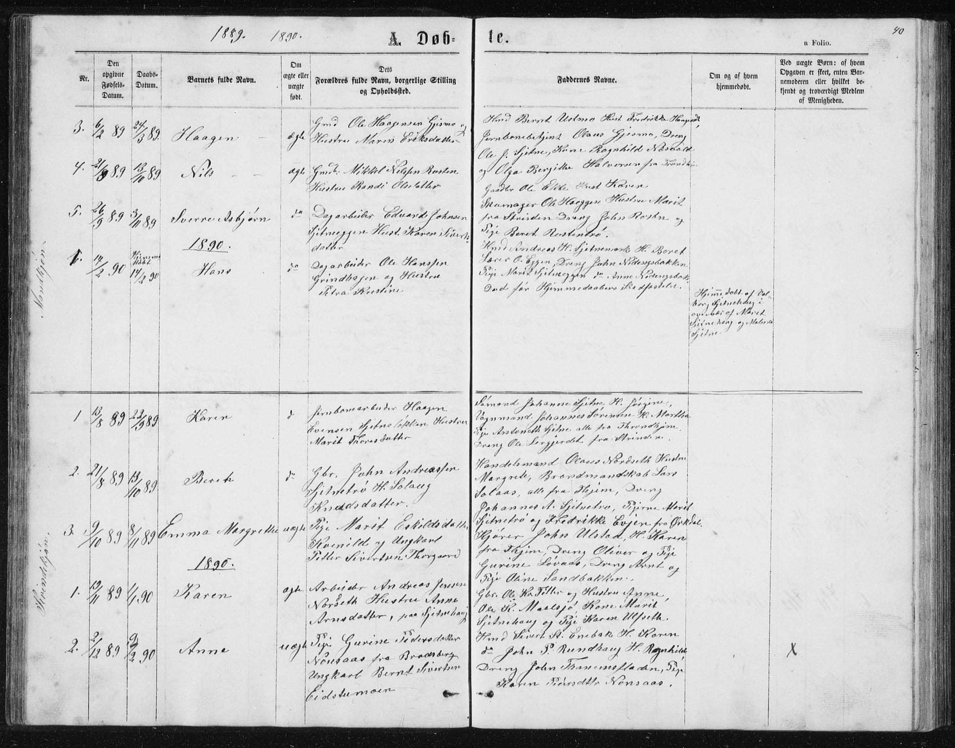 SAT, Ministerialprotokoller, klokkerbøker og fødselsregistre - Sør-Trøndelag, 621/L0459: Klokkerbok nr. 621C02, 1866-1895, s. 40