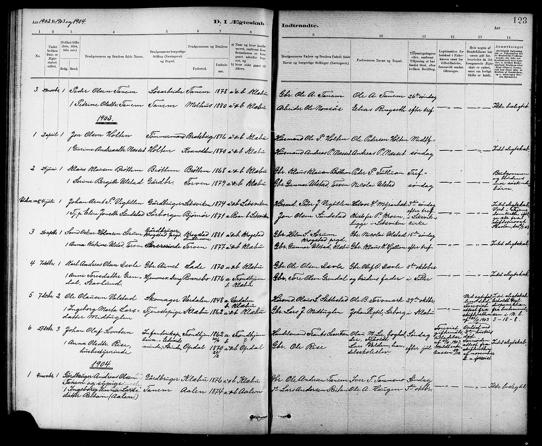 SAT, Ministerialprotokoller, klokkerbøker og fødselsregistre - Sør-Trøndelag, 618/L0452: Klokkerbok nr. 618C03, 1884-1906, s. 123