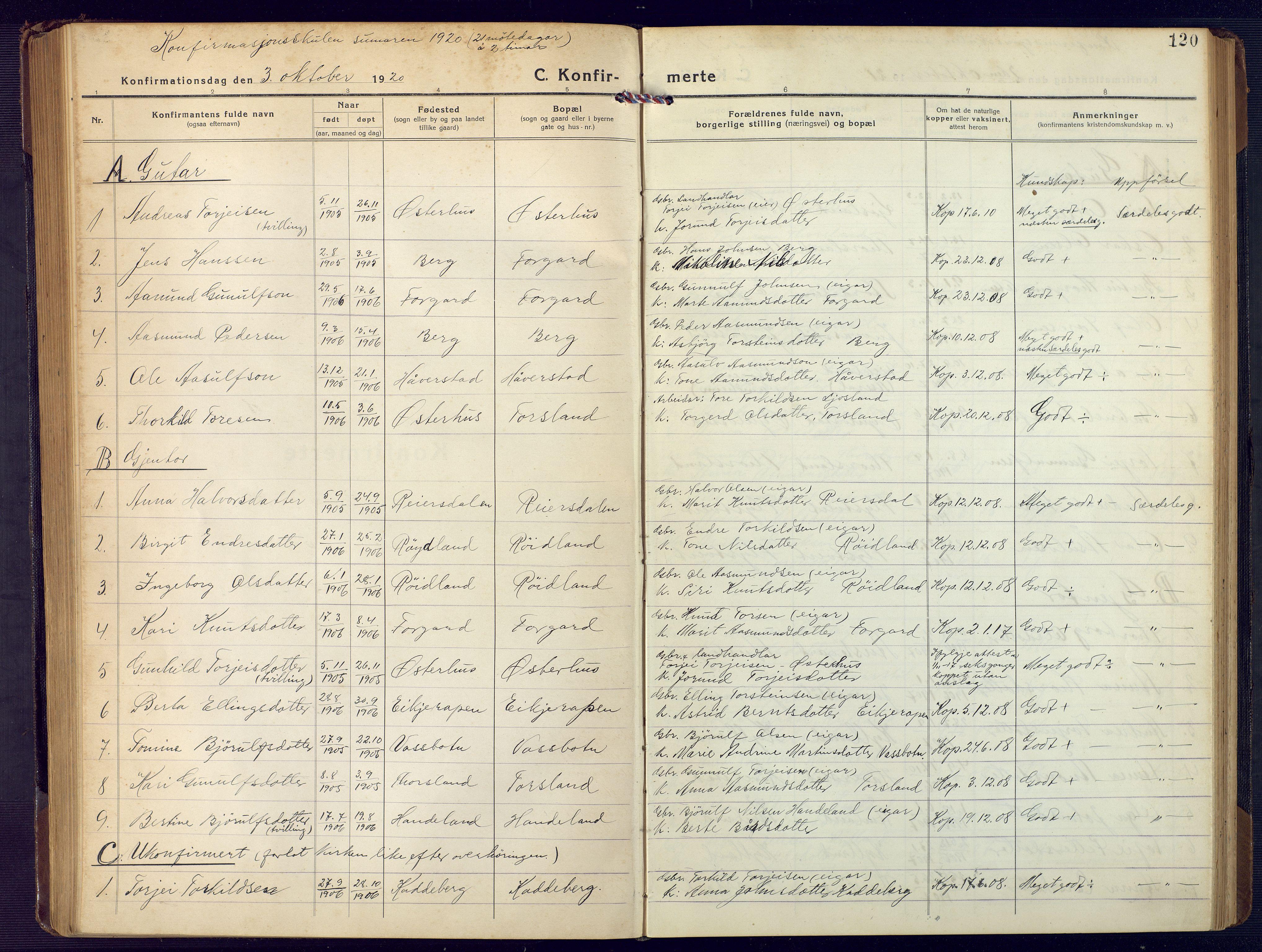 SAK, Åseral sokneprestkontor, F/Fb/L0004: Klokkerbok nr. B 4, 1920-1946, s. 120
