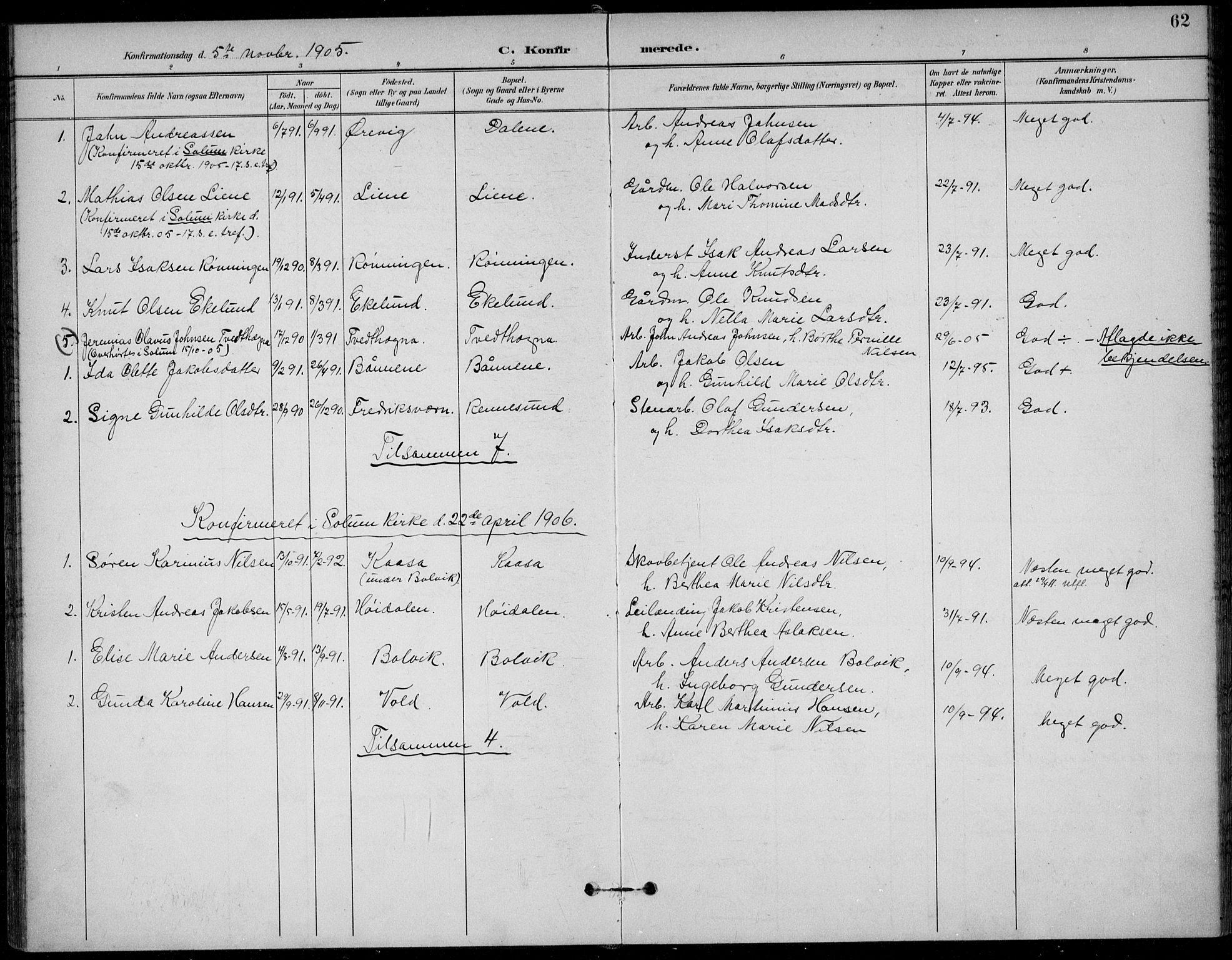SAKO, Solum kirkebøker, F/Fc/L0002: Ministerialbok nr. III 2, 1892-1906, s. 62