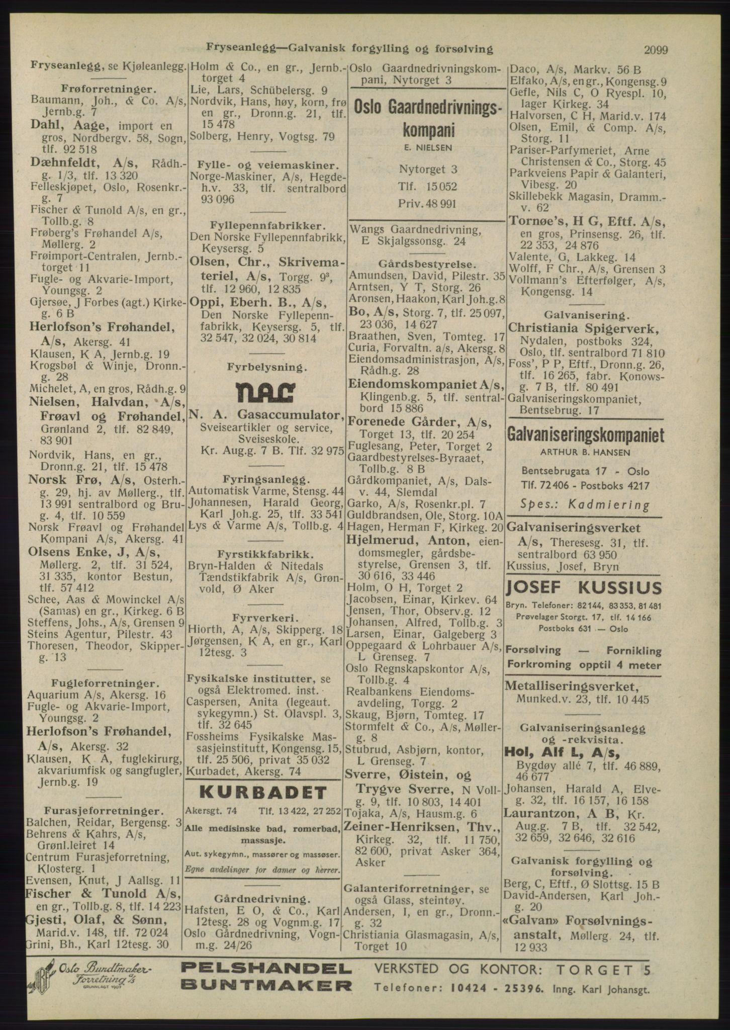 RA, Oslo adressebok (publikasjon)*, 1945, s. 2099