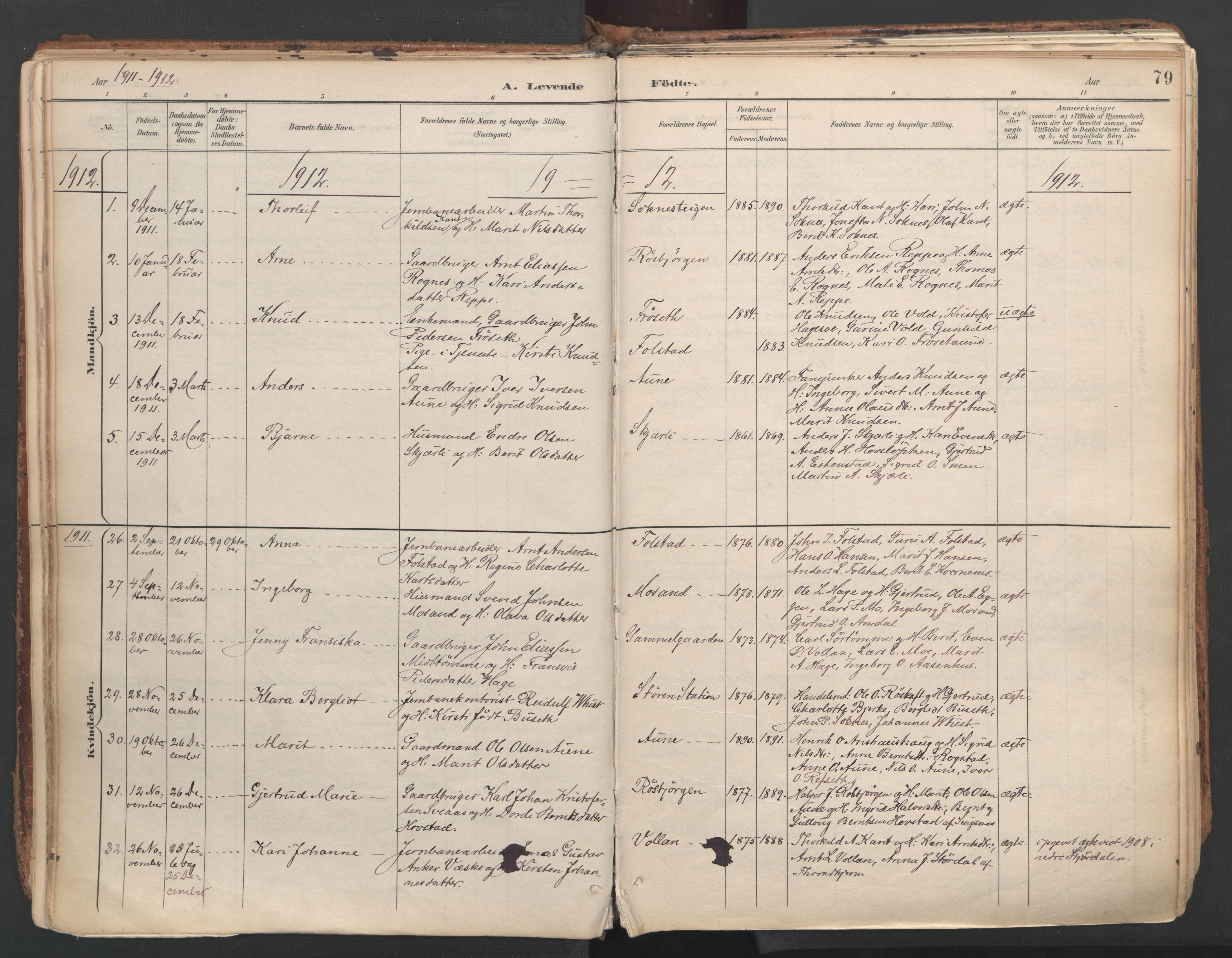 SAT, Ministerialprotokoller, klokkerbøker og fødselsregistre - Sør-Trøndelag, 687/L1004: Ministerialbok nr. 687A10, 1891-1923, s. 79
