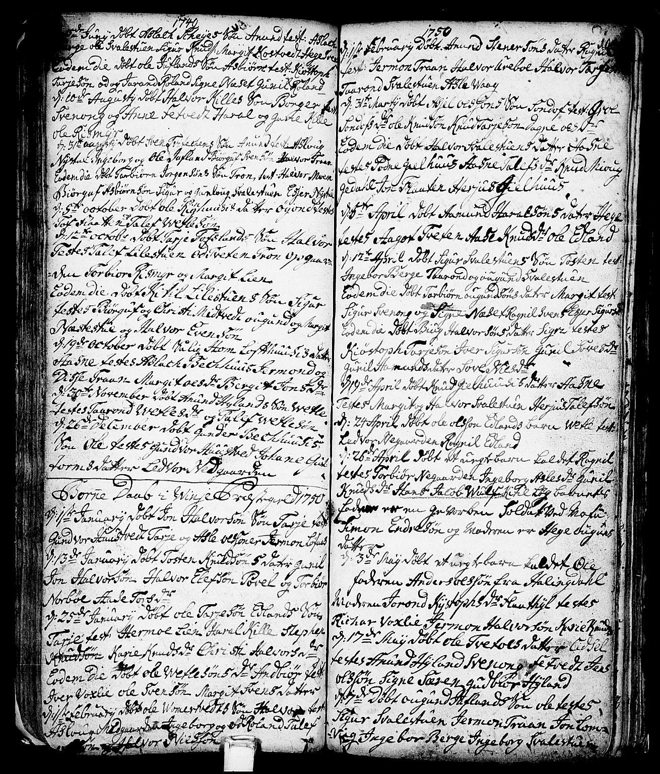 SAKO, Vinje kirkebøker, F/Fa/L0001: Ministerialbok nr. I 1, 1717-1766, s. 104