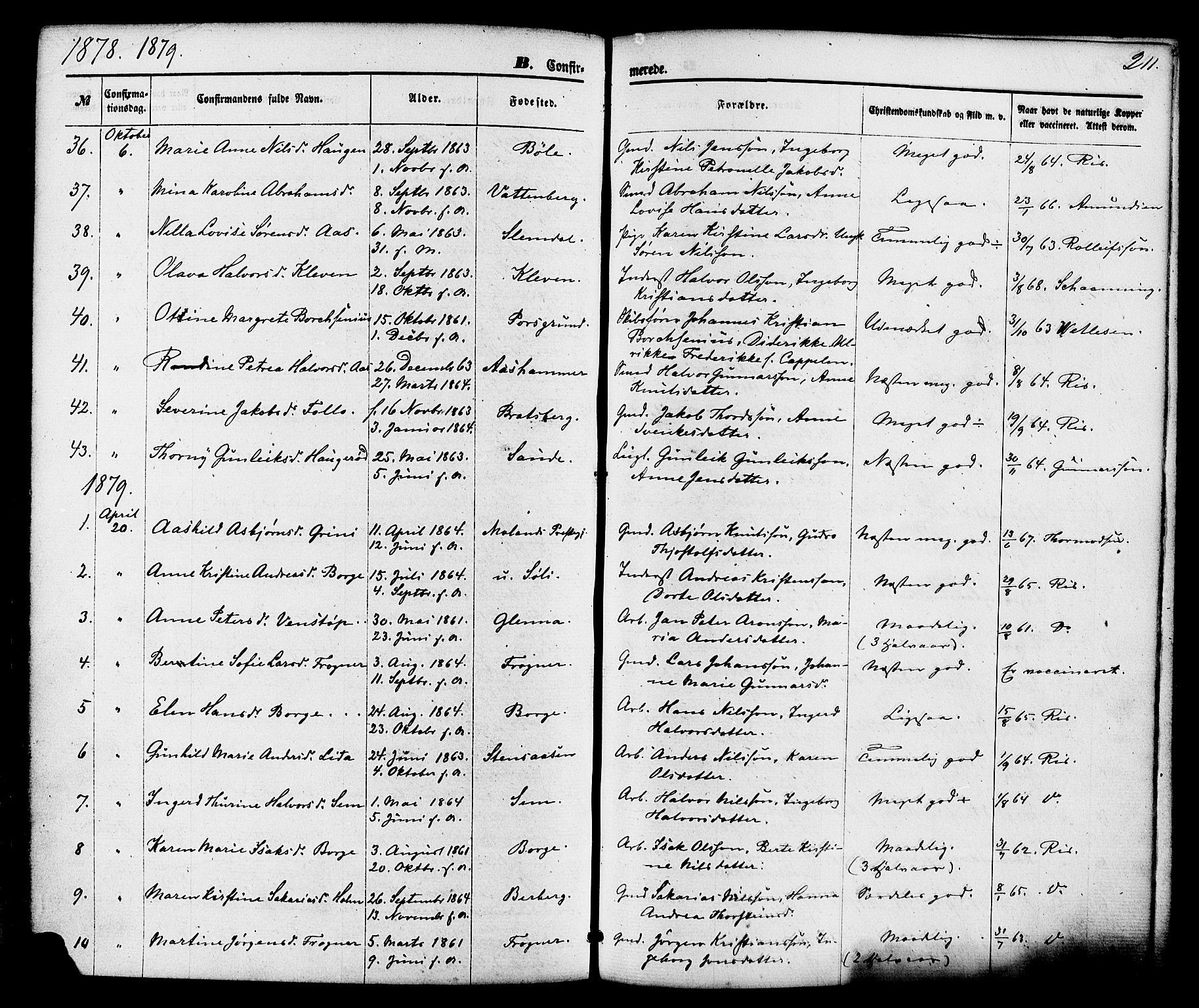 SAKO, Gjerpen kirkebøker, F/Fa/L0009: Ministerialbok nr. 9, 1872-1885, s. 211