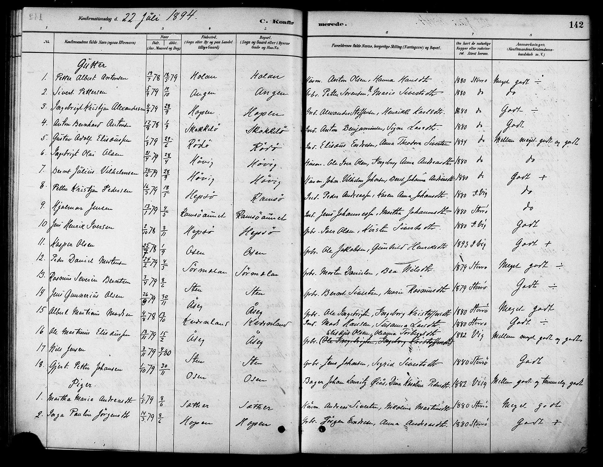 SAT, Ministerialprotokoller, klokkerbøker og fødselsregistre - Sør-Trøndelag, 658/L0722: Ministerialbok nr. 658A01, 1879-1896, s. 142