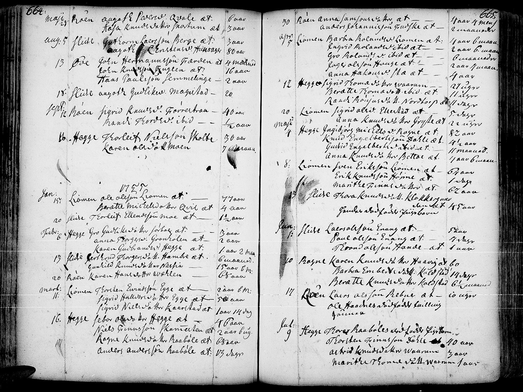 SAH, Slidre prestekontor, Ministerialbok nr. 1, 1724-1814, s. 664-665