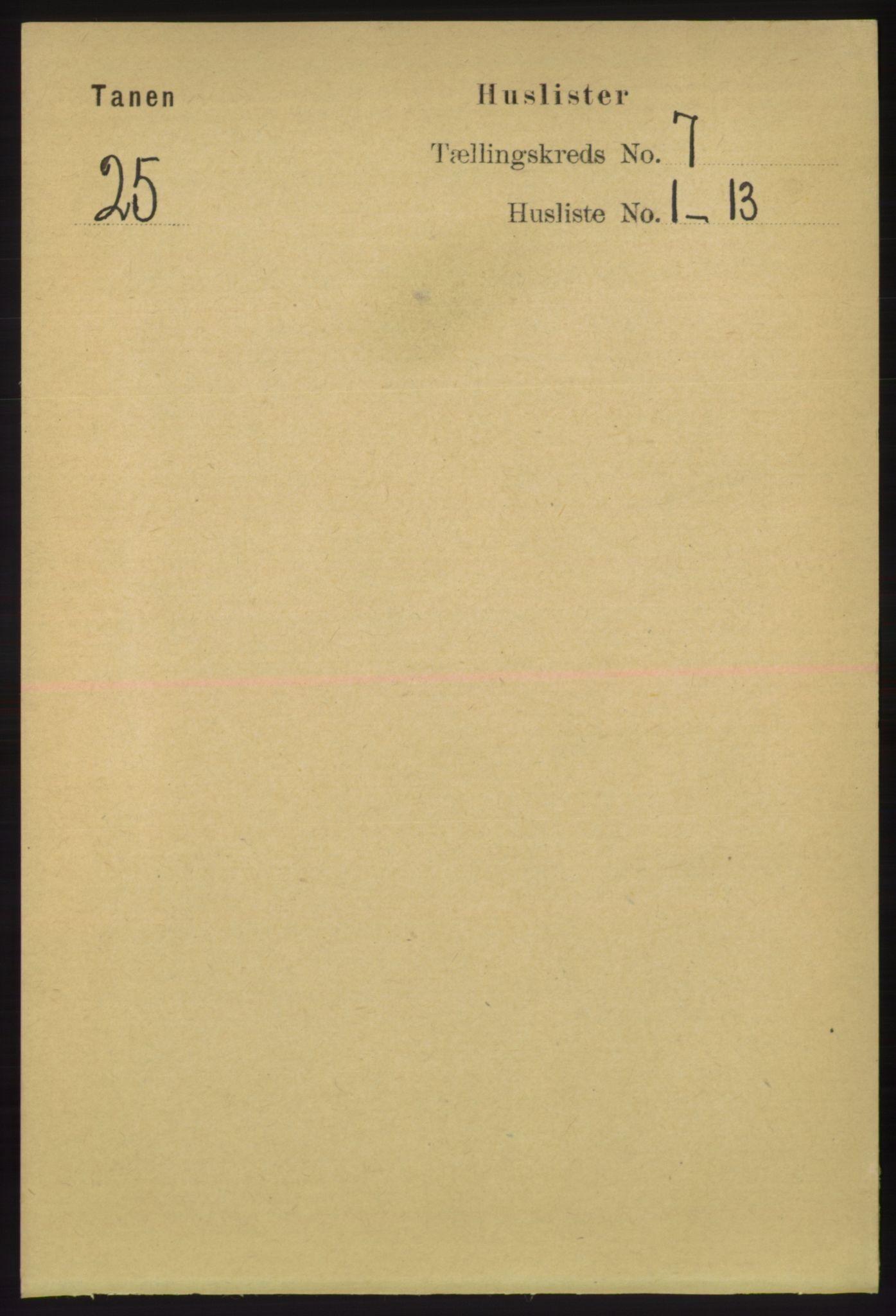 RA, Folketelling 1891 for 2025 Tana herred, 1891, s. 3072