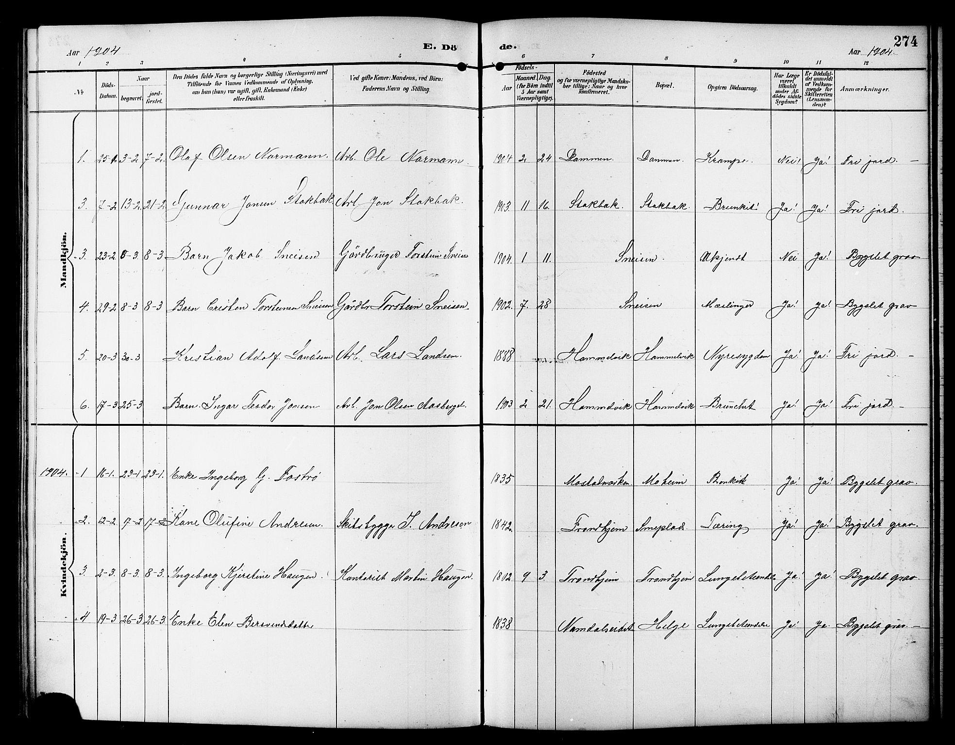 SAT, Ministerialprotokoller, klokkerbøker og fødselsregistre - Sør-Trøndelag, 617/L0431: Klokkerbok nr. 617C01, 1889-1910, s. 274