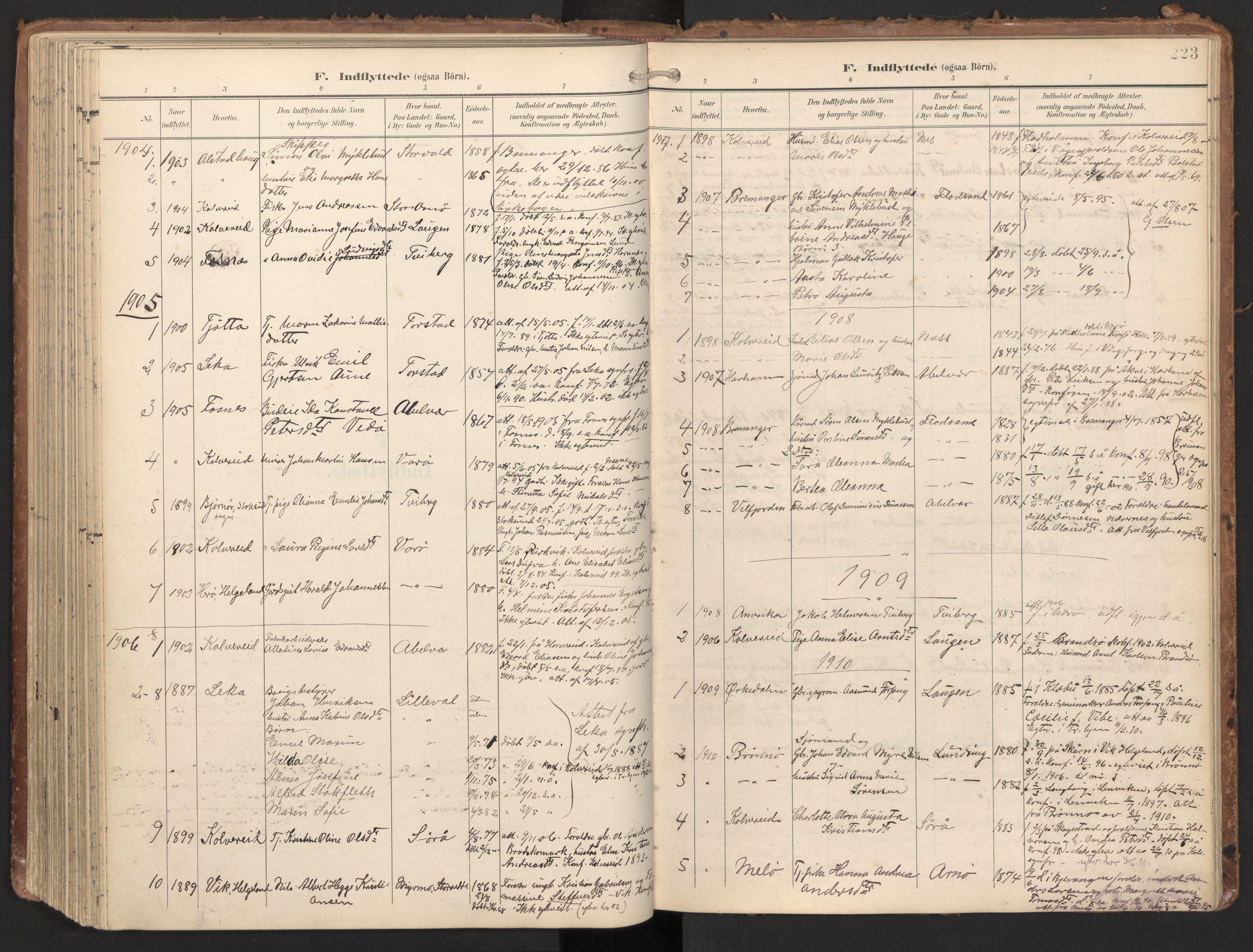 SAT, Ministerialprotokoller, klokkerbøker og fødselsregistre - Nord-Trøndelag, 784/L0677: Ministerialbok nr. 784A12, 1900-1920, s. 223