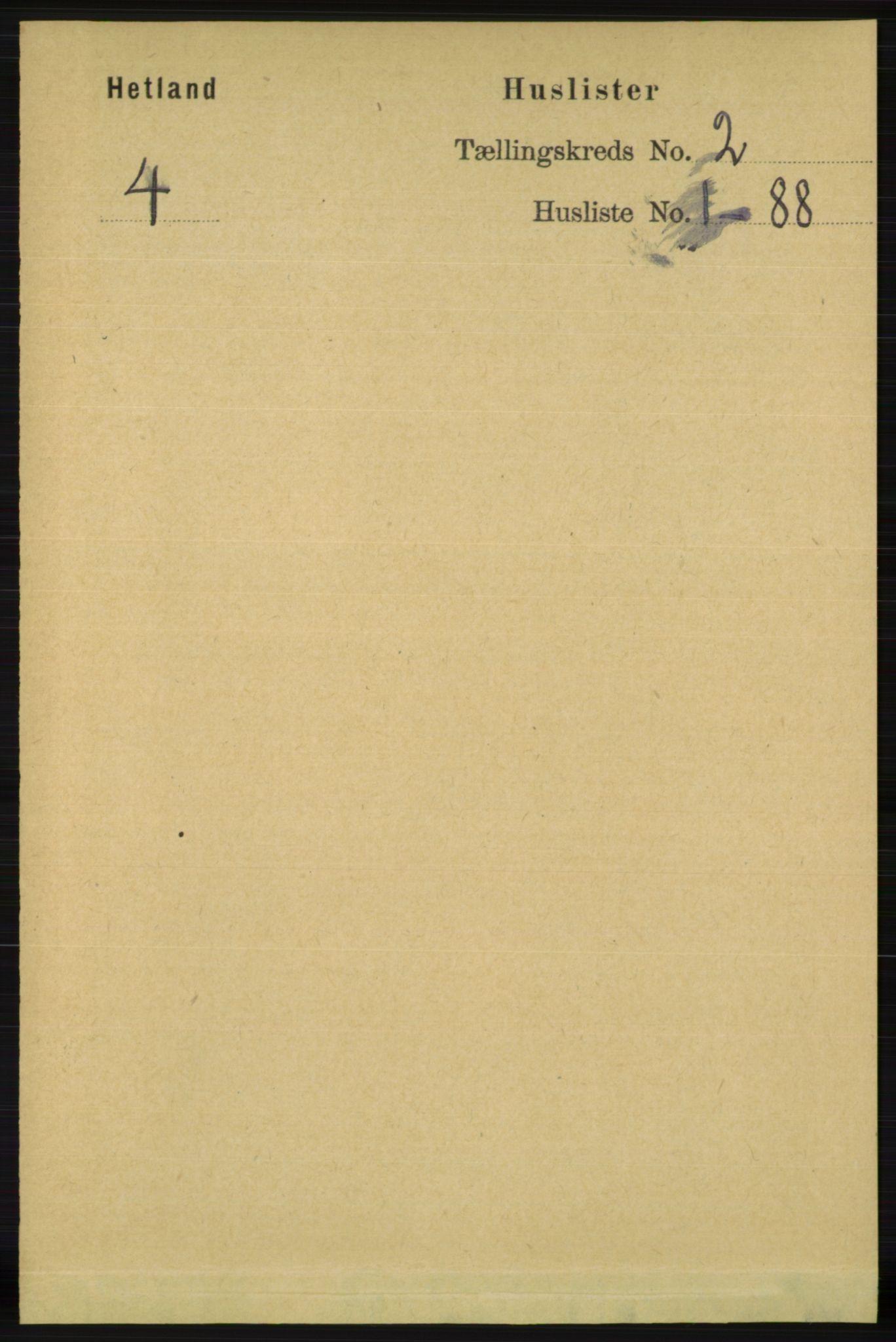 RA, Folketelling 1891 for 1126 Hetland herred, 1891, s. 380