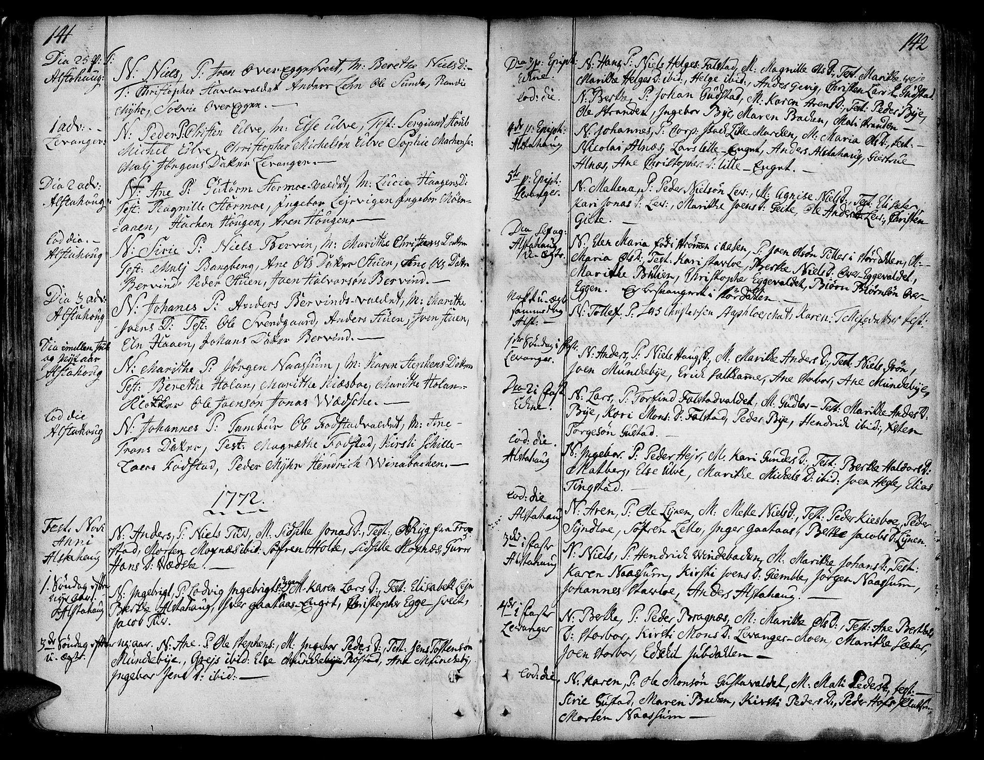 SAT, Ministerialprotokoller, klokkerbøker og fødselsregistre - Nord-Trøndelag, 717/L0141: Ministerialbok nr. 717A01, 1747-1803, s. 141-142