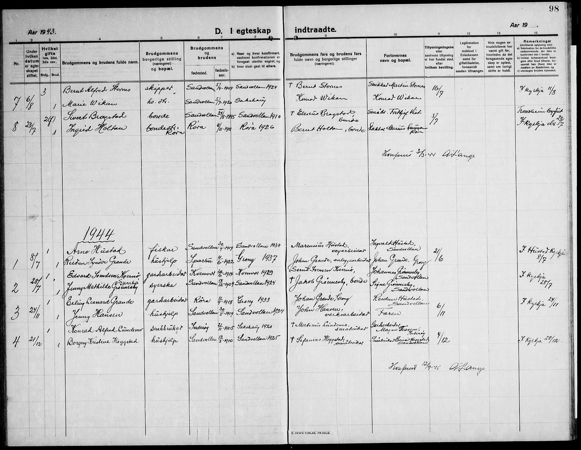 SAT, Ministerialprotokoller, klokkerbøker og fødselsregistre - Nord-Trøndelag, 732/L0319: Klokkerbok nr. 732C03, 1911-1945, s. 98
