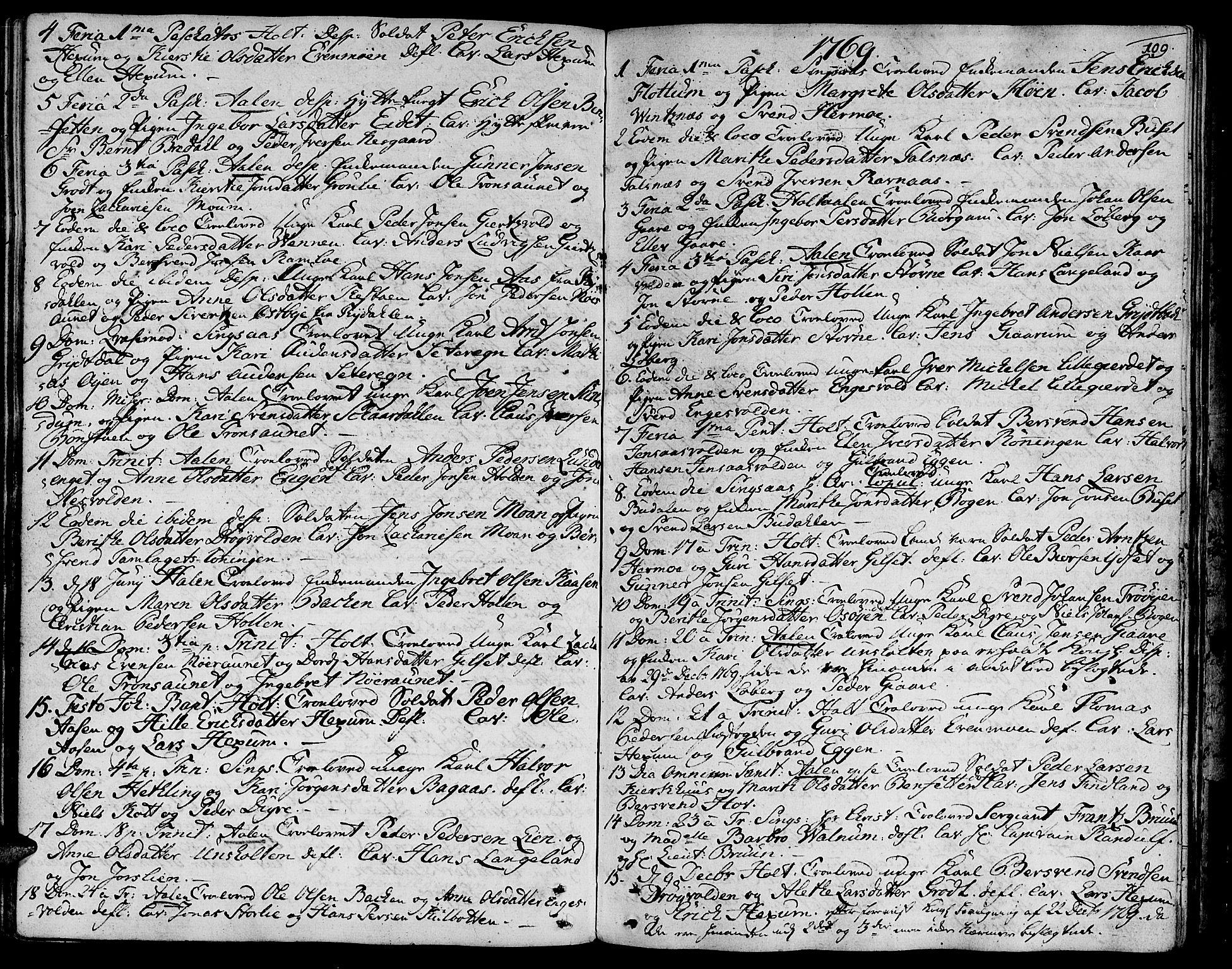SAT, Ministerialprotokoller, klokkerbøker og fødselsregistre - Sør-Trøndelag, 685/L0952: Ministerialbok nr. 685A01, 1745-1804, s. 109