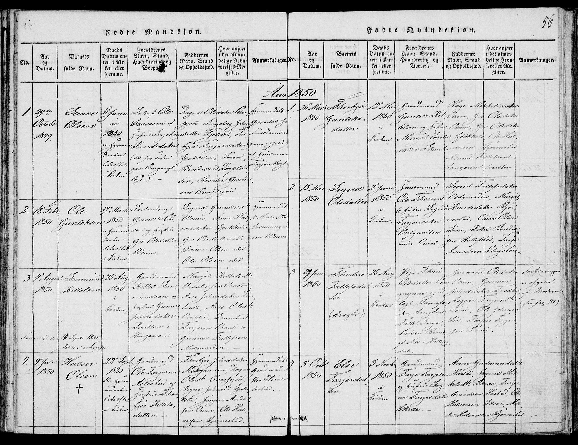 SAKO, Fyresdal kirkebøker, F/Fb/L0001: Ministerialbok nr. II 1, 1815-1854, s. 56